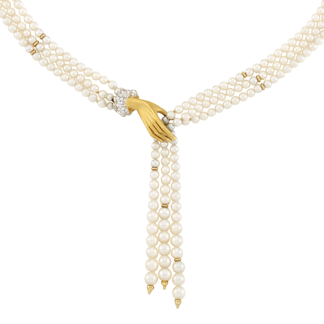 Lot image - Triple Strand Cultured Pearl, Two-Color Gold and Diamond Fringe Necklace, Carrera Carrera, Black Starr & Frost