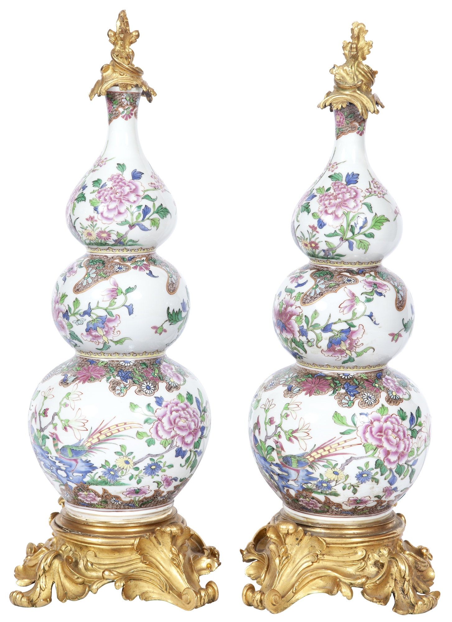 Lot image - Pair of Louis XV Style Gilt-Bronze Mounted Famille Rose Style Porcelain Triple Gourd Vases
