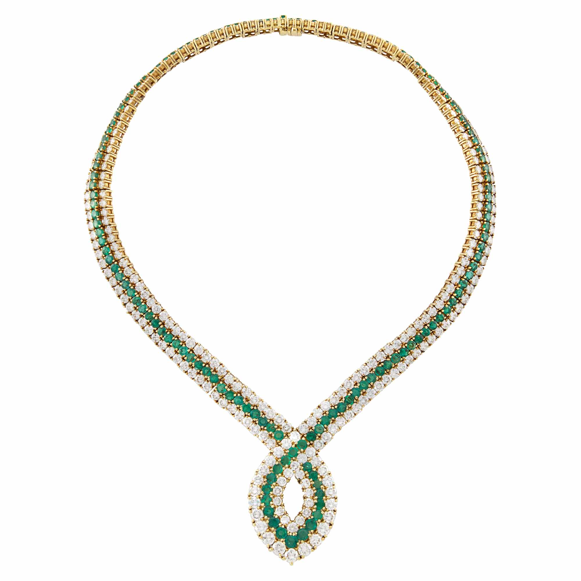 Lot image - Gold, Emerald and Diamond Necklace