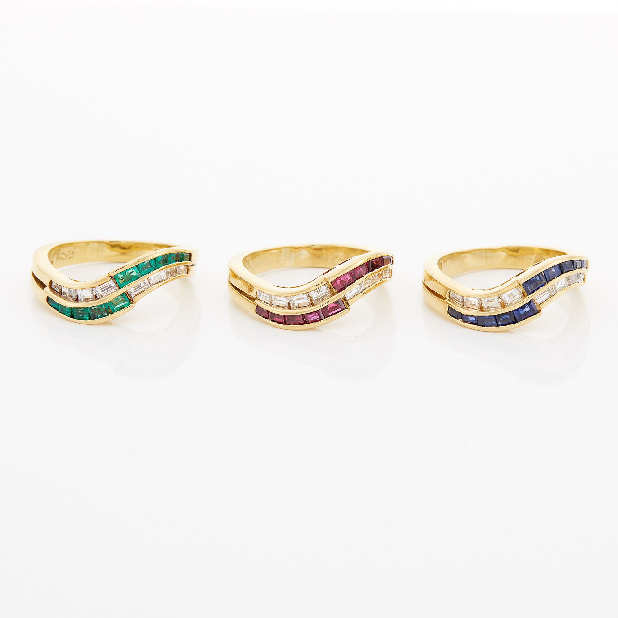 Lot image - Three Gold, Diamond and Colored Stone Stacking Rings, Damiani