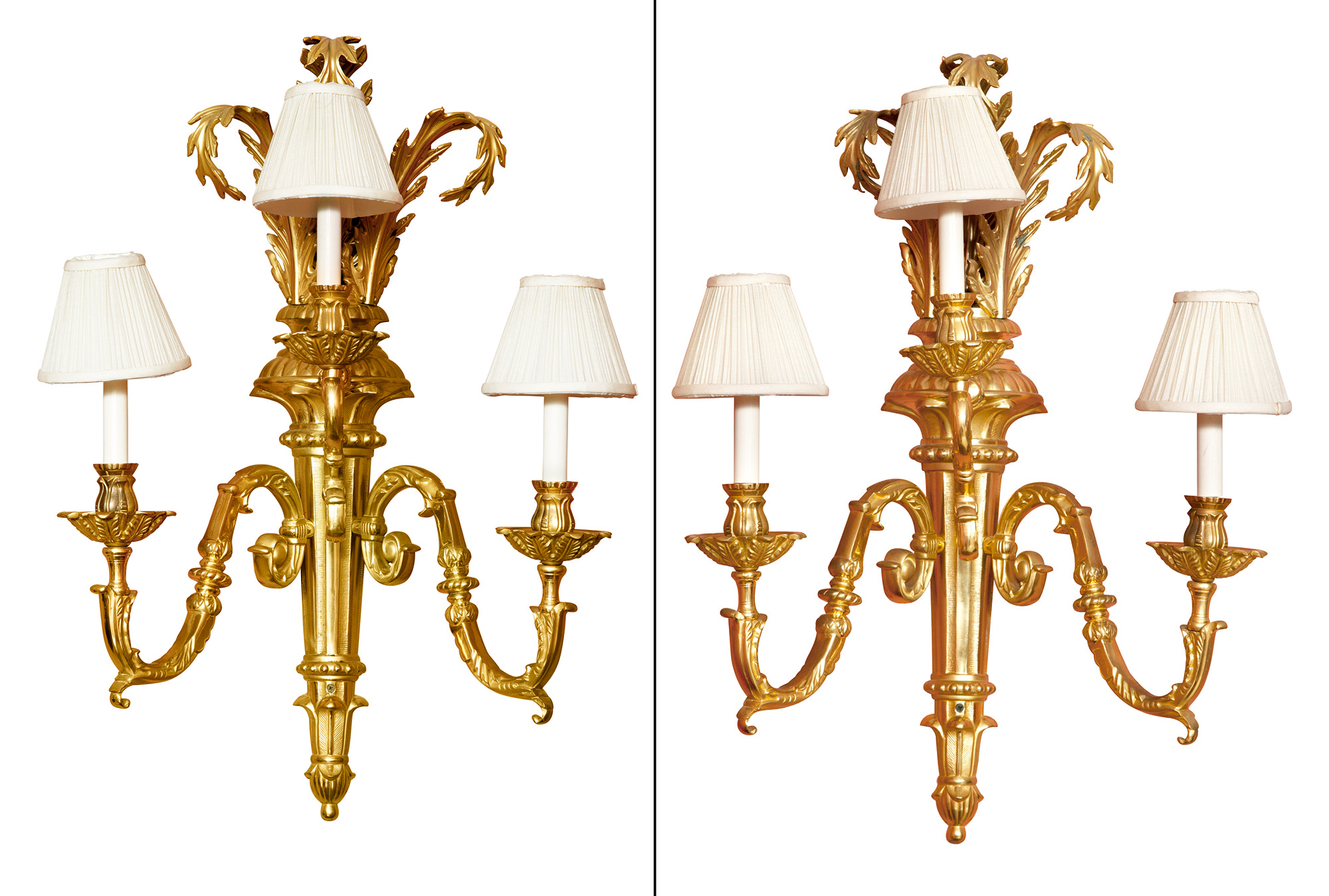 Lot image - Pair of Large Louis XVI Style Gilt-Brass Three-Light Sconces
