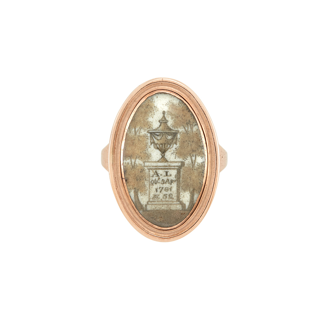 Lot image - Antique Rose Gold Memorial Ring