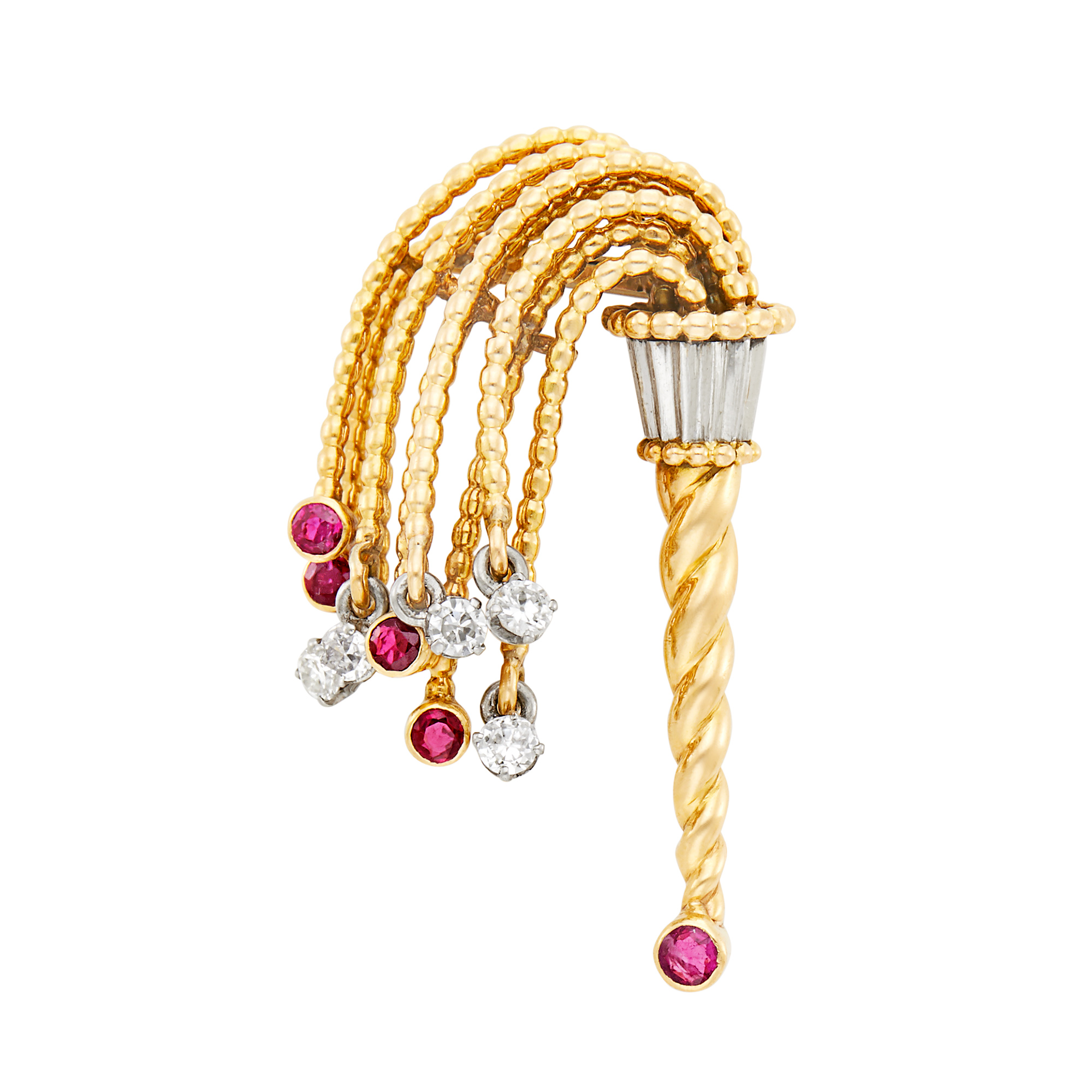 Lot image - Gold, Platinum, Diamond and Ruby Torch Clip-Brooch, France