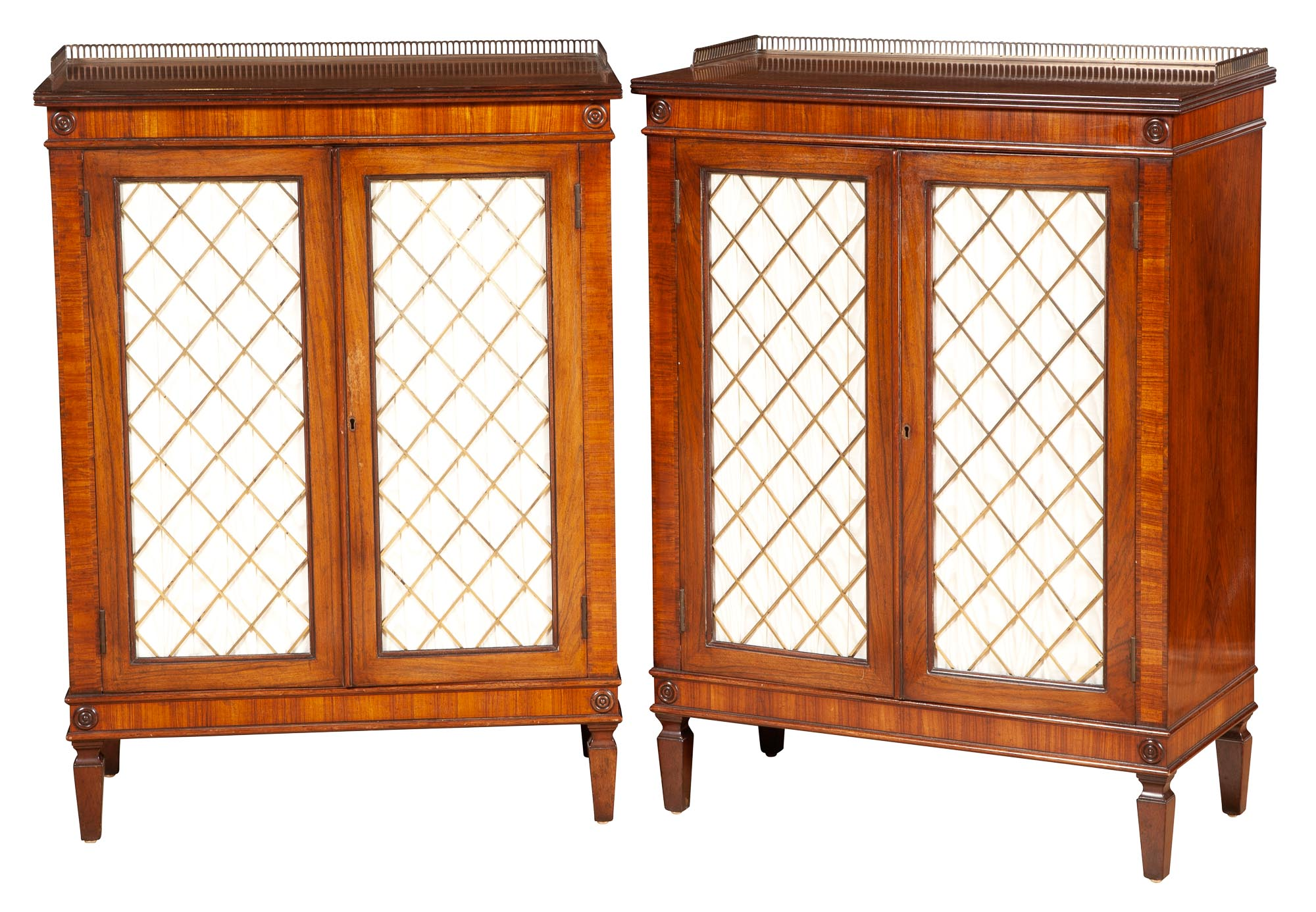 Lot image - Pair of Regency Style Rosewood and Brass-Mounted Side Cabinets
