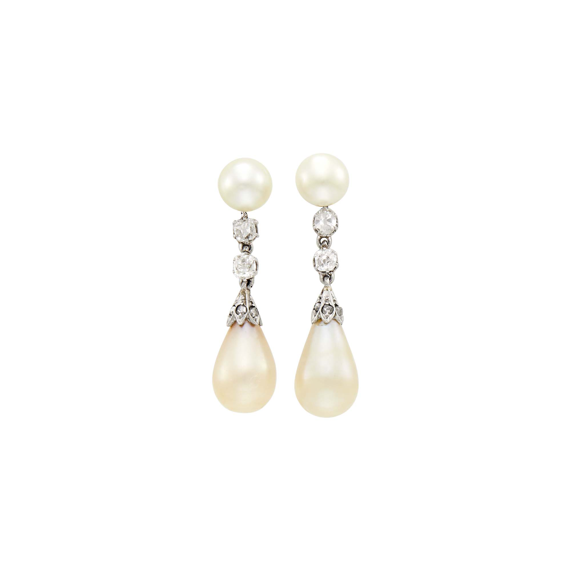 Lot image - Pair of Antique Platinum, Gold, Natural Pearl and Diamond Pendant- Earrings
