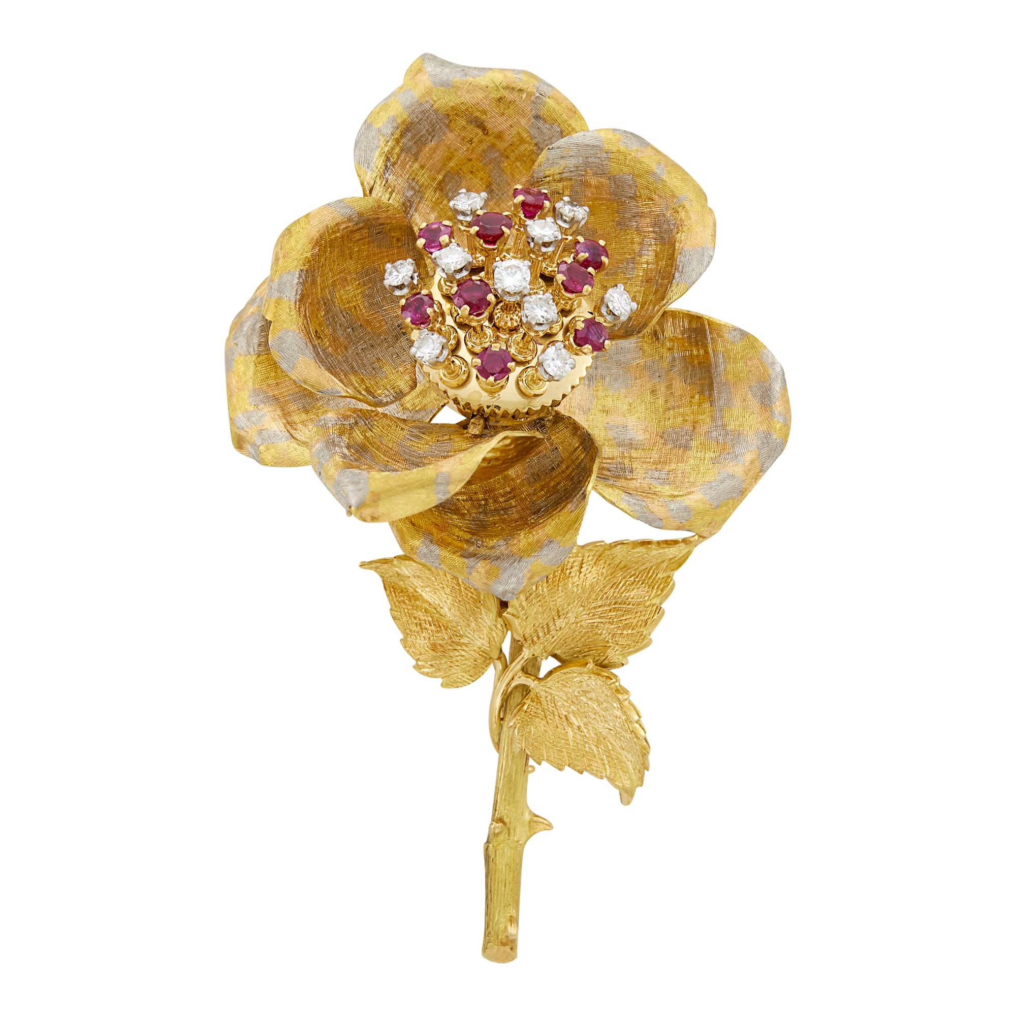 Lot image - Two Color Gold. Diamond and Ruby En Tremblant Flower Clip-Brooch