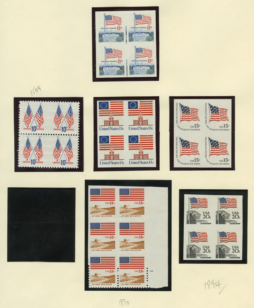 Lot image - United States 8 Cents to 29 Cents Flag Issues of 1963 to 1991