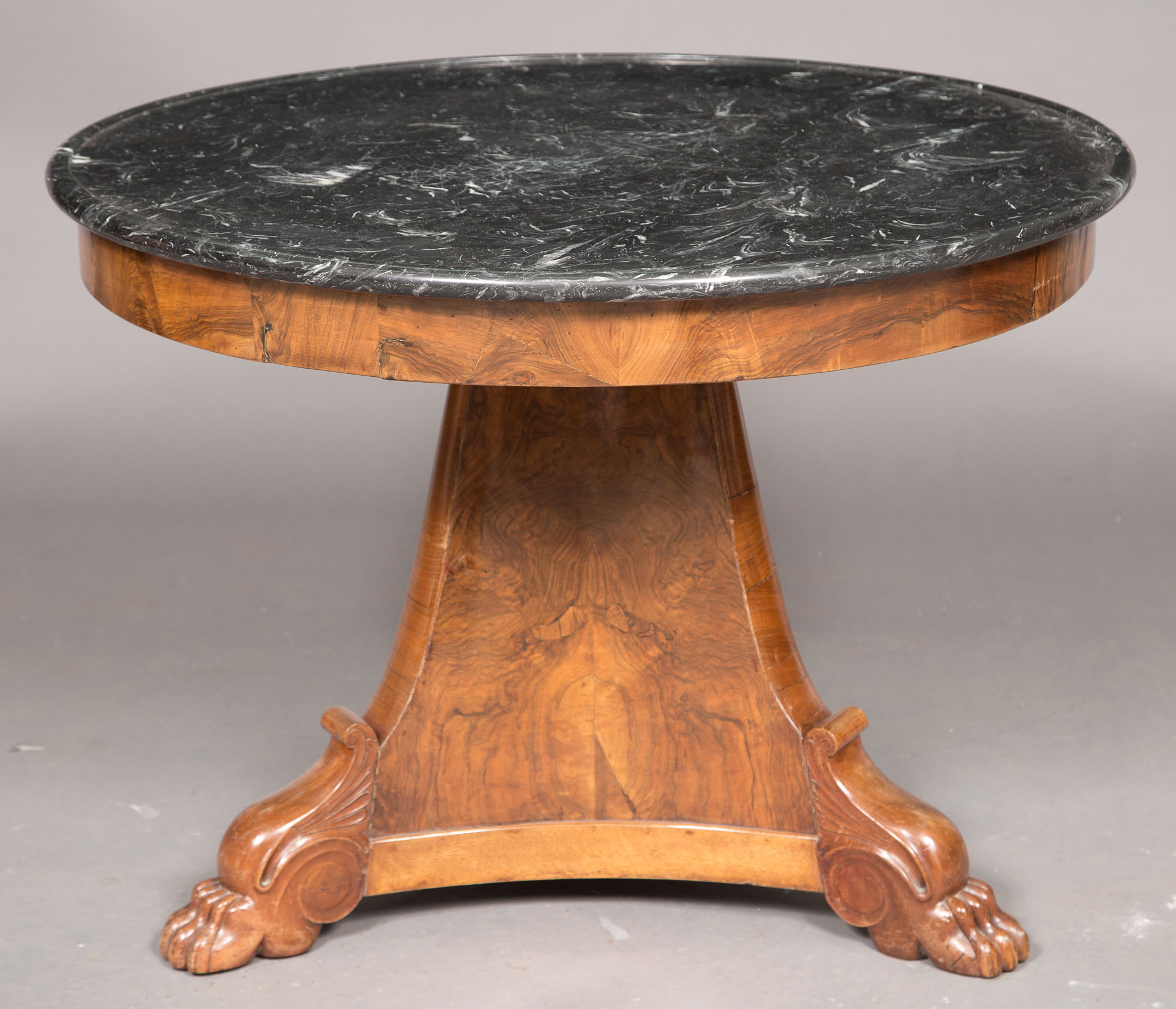 Lot image - Restauration Walnut Center Table with Marble Top