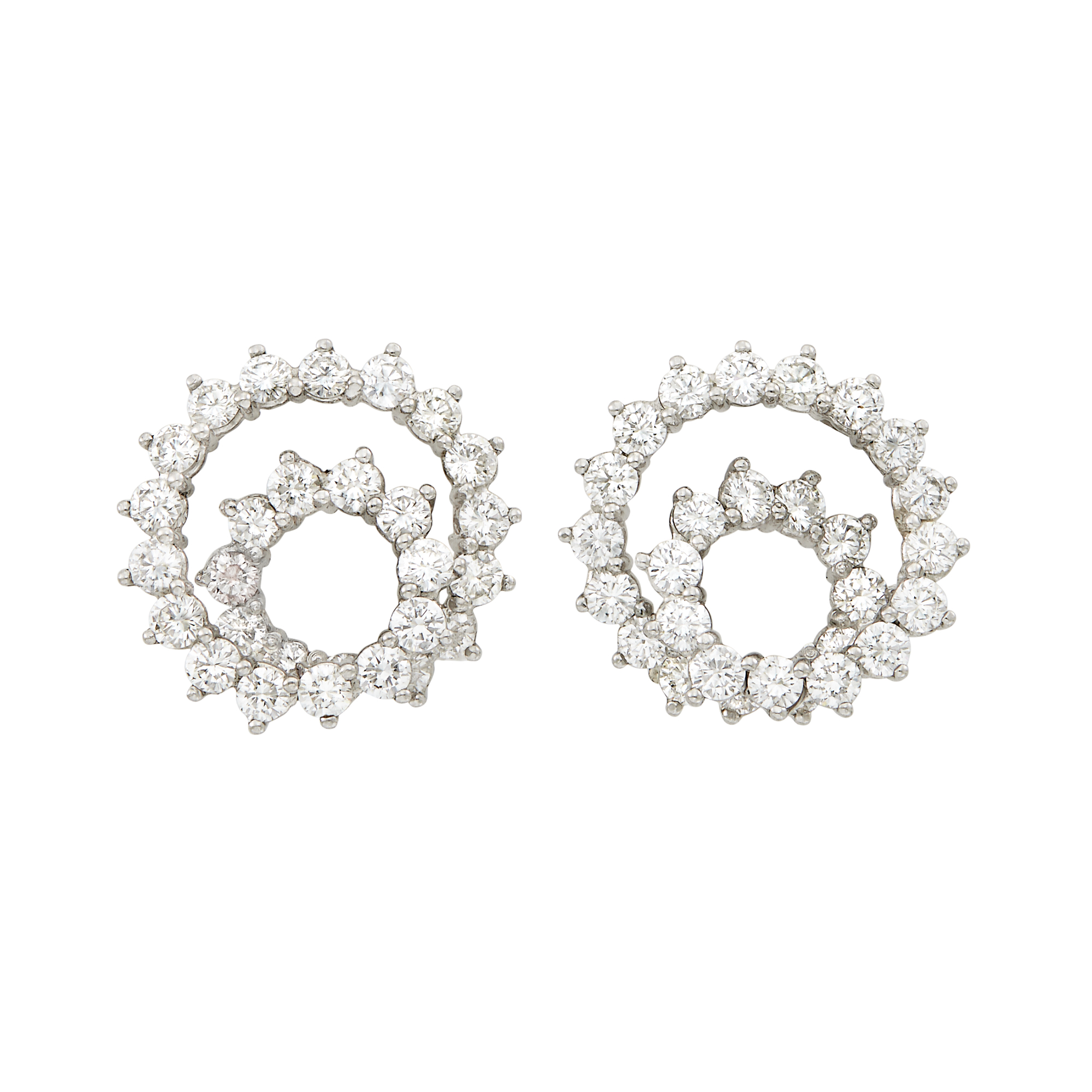 Lot image - Pair of Platinum and Diamond Spiral Earclips