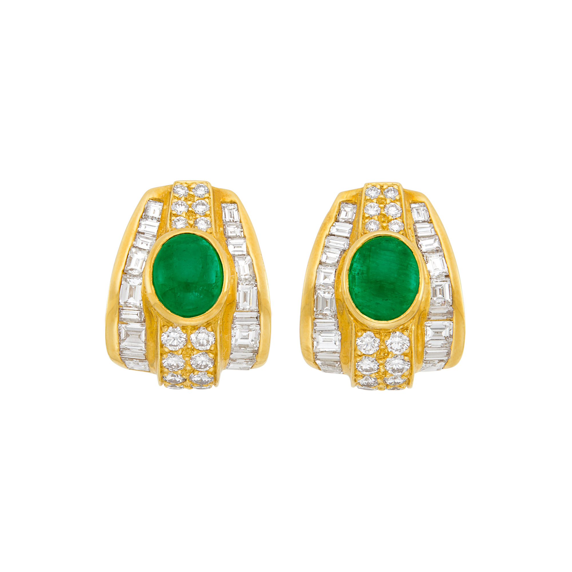 Lot image - Pair of Gold, Cabochon Emerald and Diamond Earclips