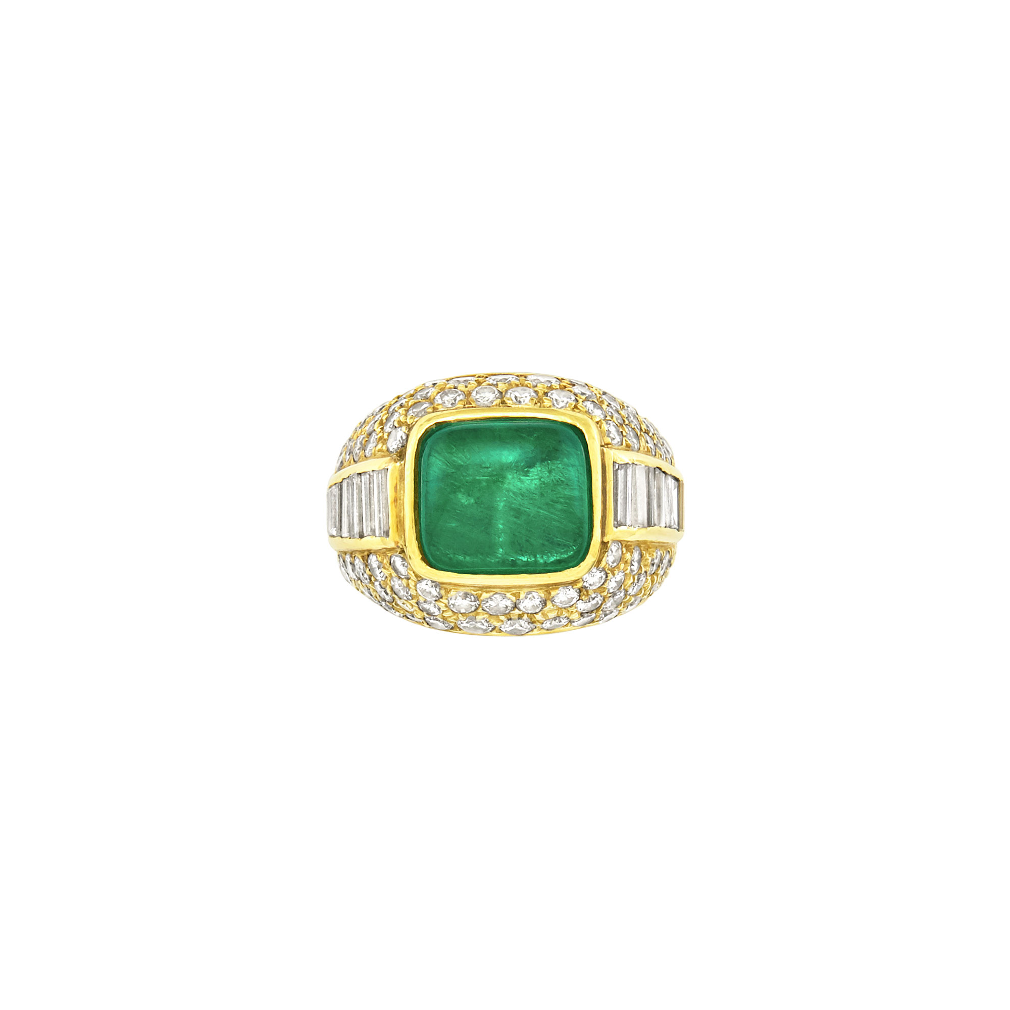 Lot image - Gold, Cabochon Emerald and Diamond Ring