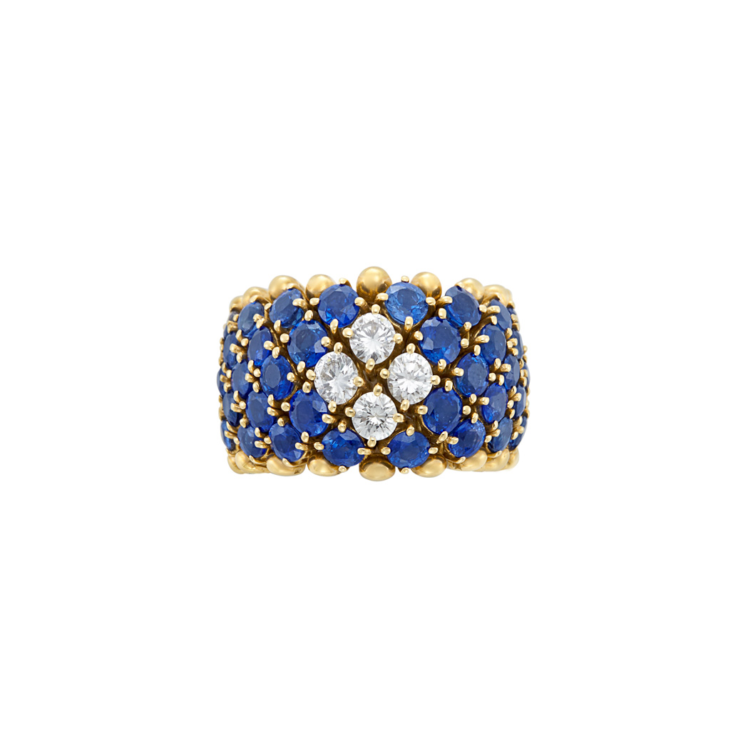 Lot image - Flexible Gold, Sapphire and Diamond Ring