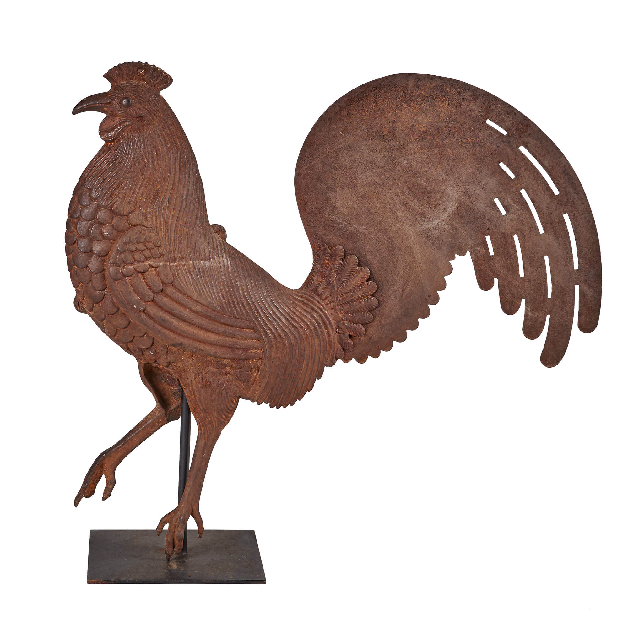 Lot image - Cast and Sheet Iron Rooster Weathervane