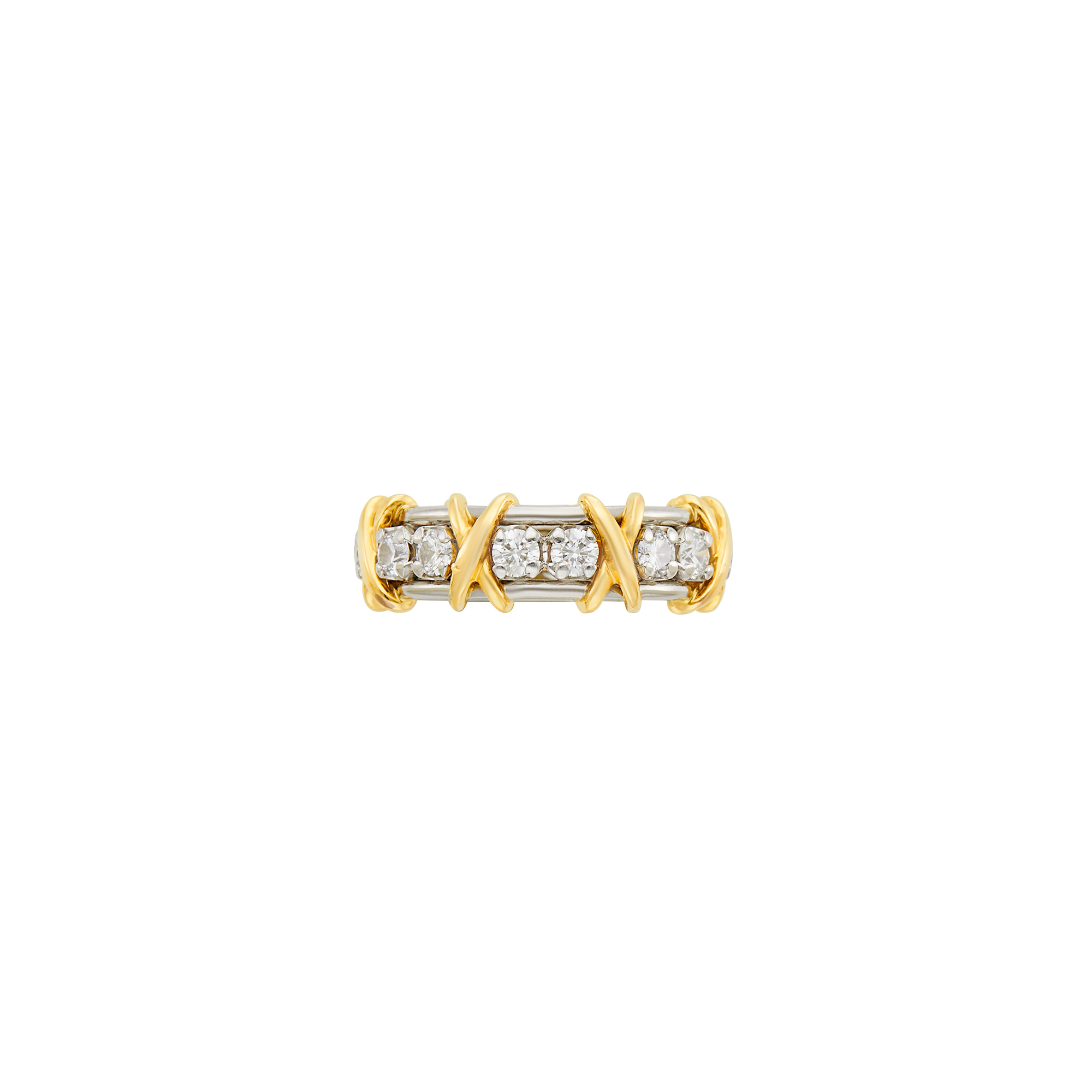 Lot image - Tiffany & Co. Schlumberger Platinum, Gold and Diamond Band Ring