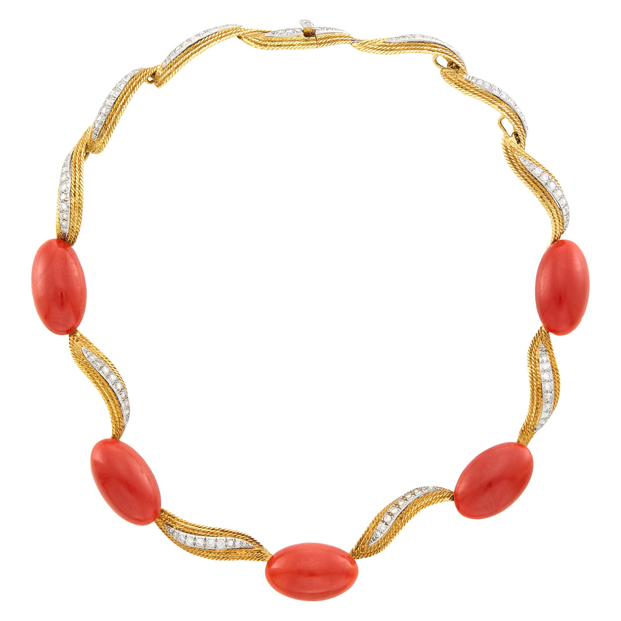 Lot image - Two-Color Gold, Oxblood Coral and Diamond Necklace