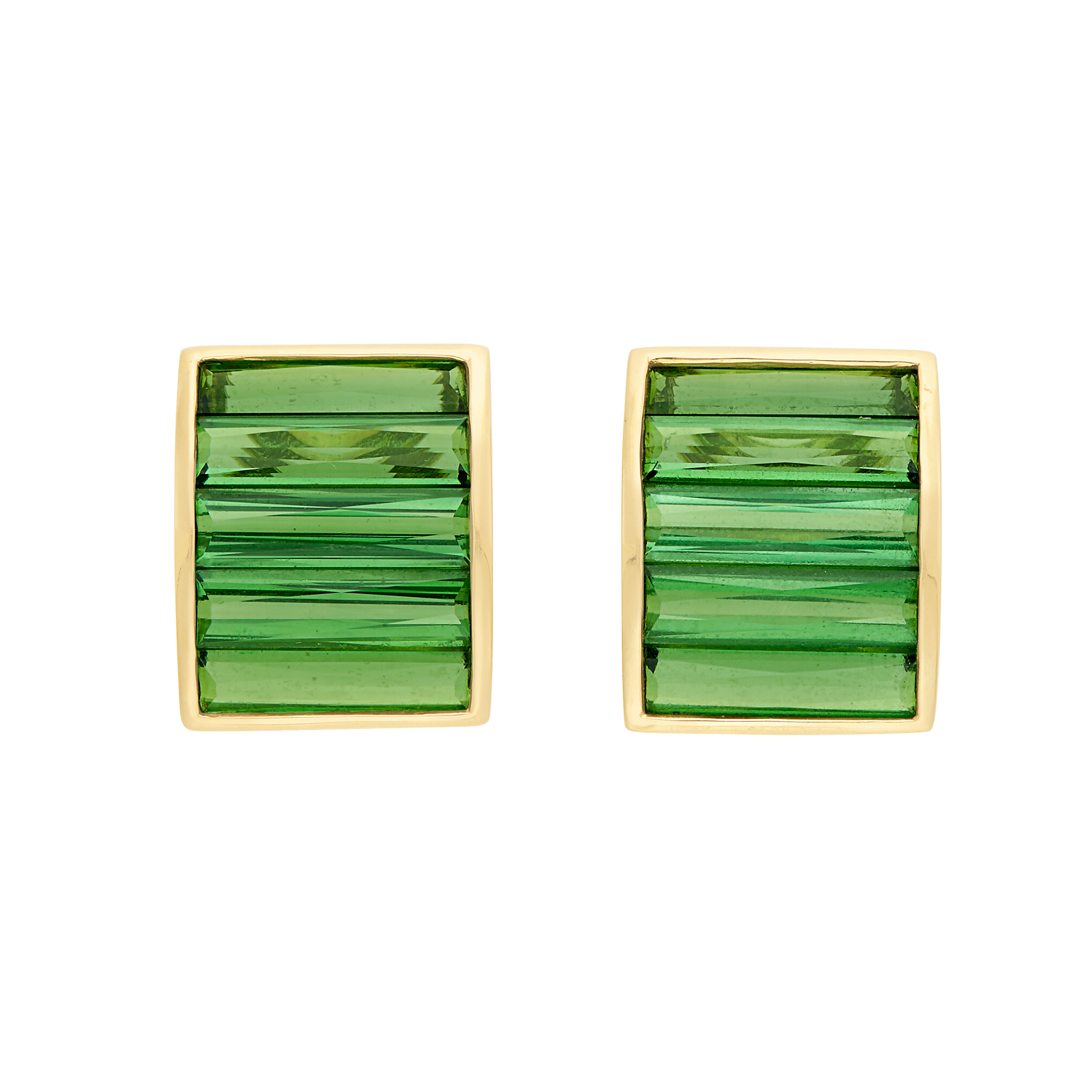 Lot image - Pair of Gold and Tourmaline Half-Hoop Earclips