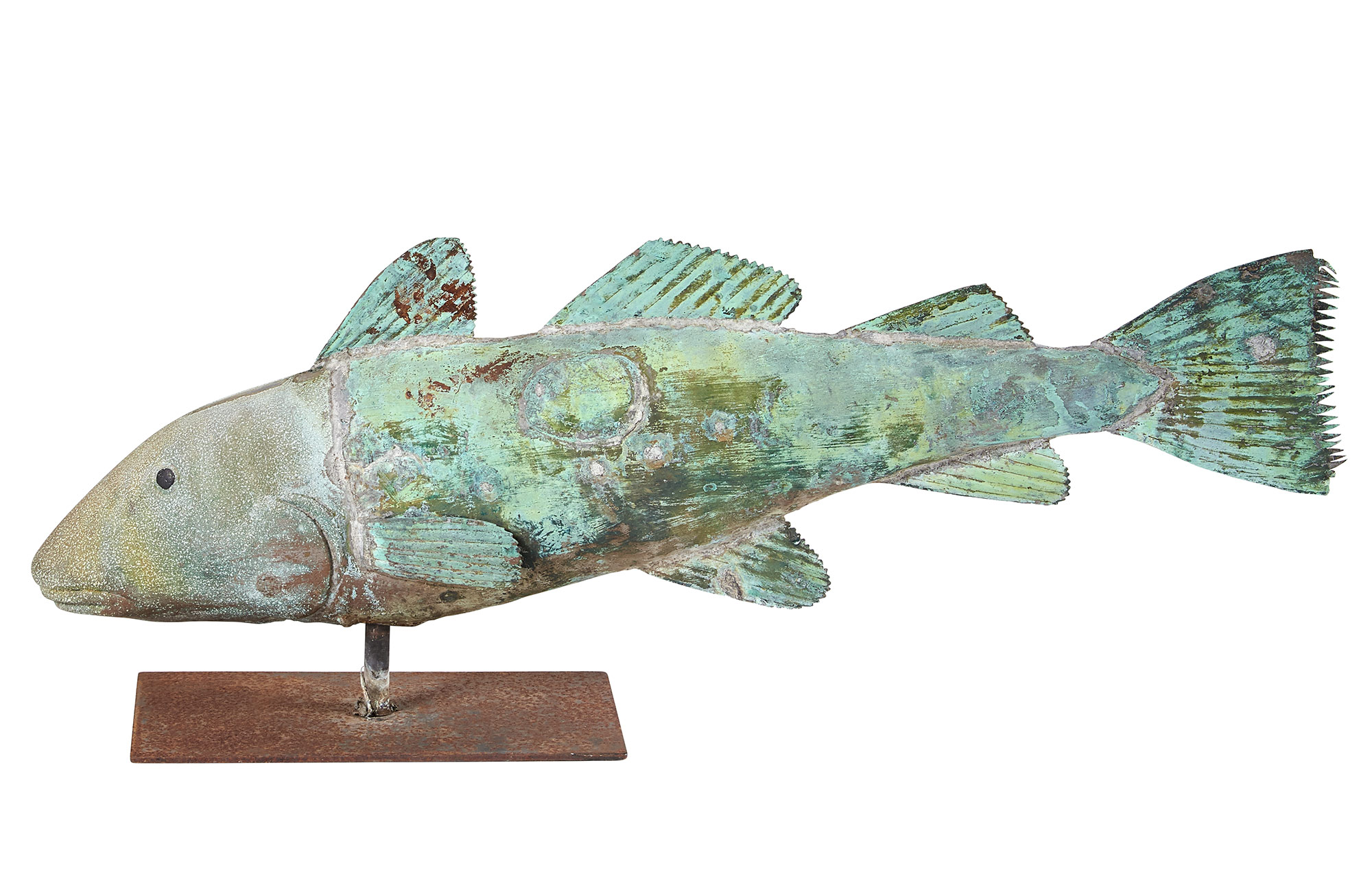 Lot image - Patinated Copper and Zinc Full-Body Fish Weathervane