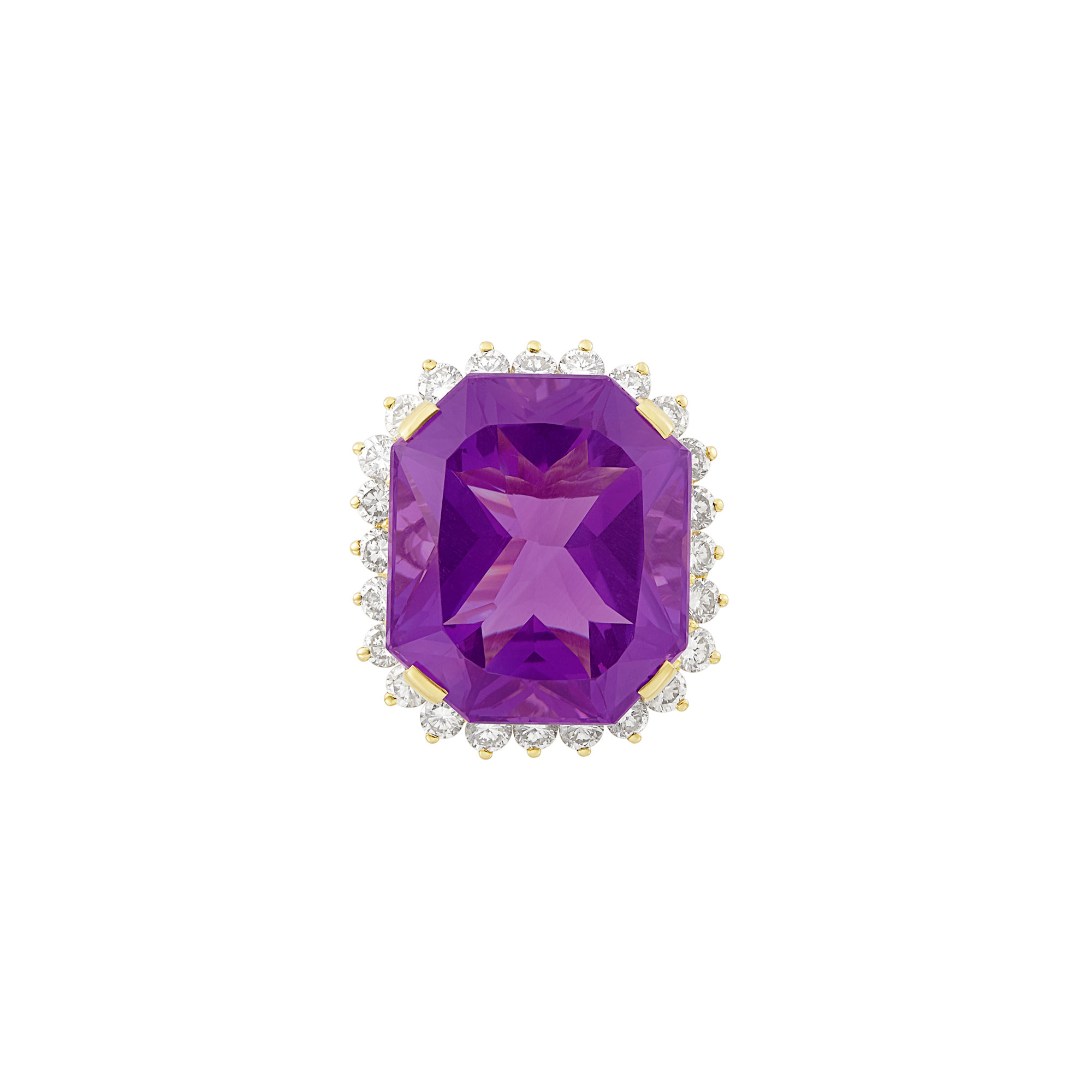 Lot image - Gold, Amethyst and Diamond Ring