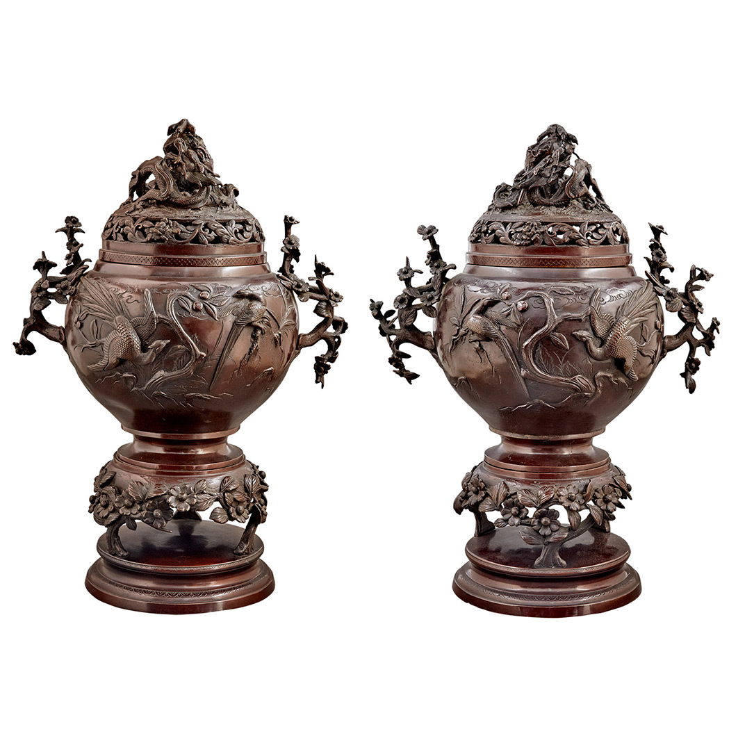 Lot image - Pair of Japanese Bronze Vases