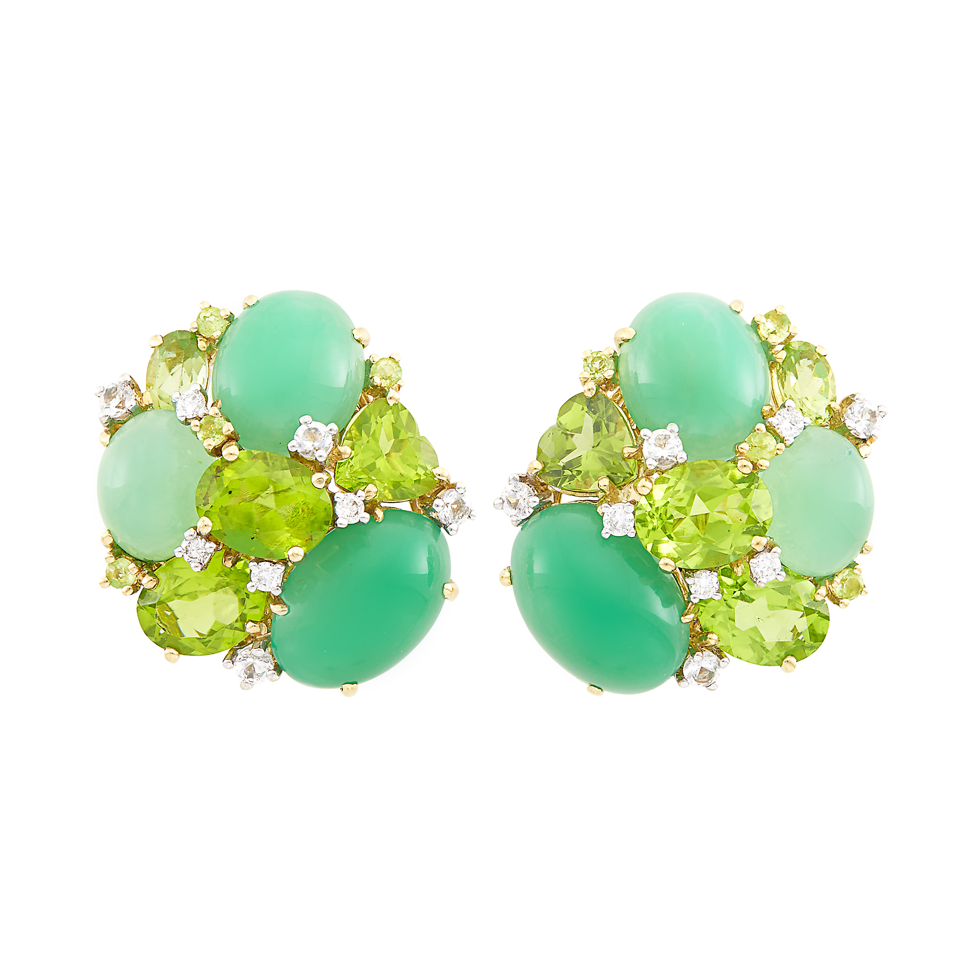 Lot image - Pair of Gold, Green Chrysoprase, Peridot and Simulated Diamond Earclips