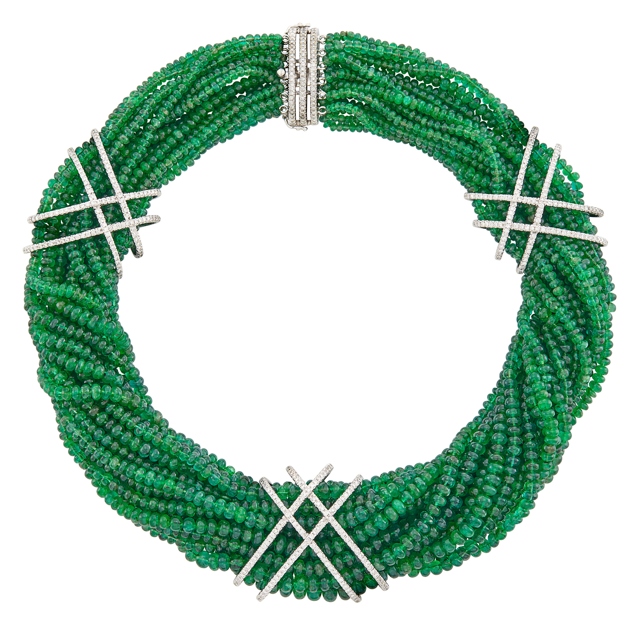 Lot image - Multistrand Emerald Bead, White Gold and Diamond Torsade Necklace