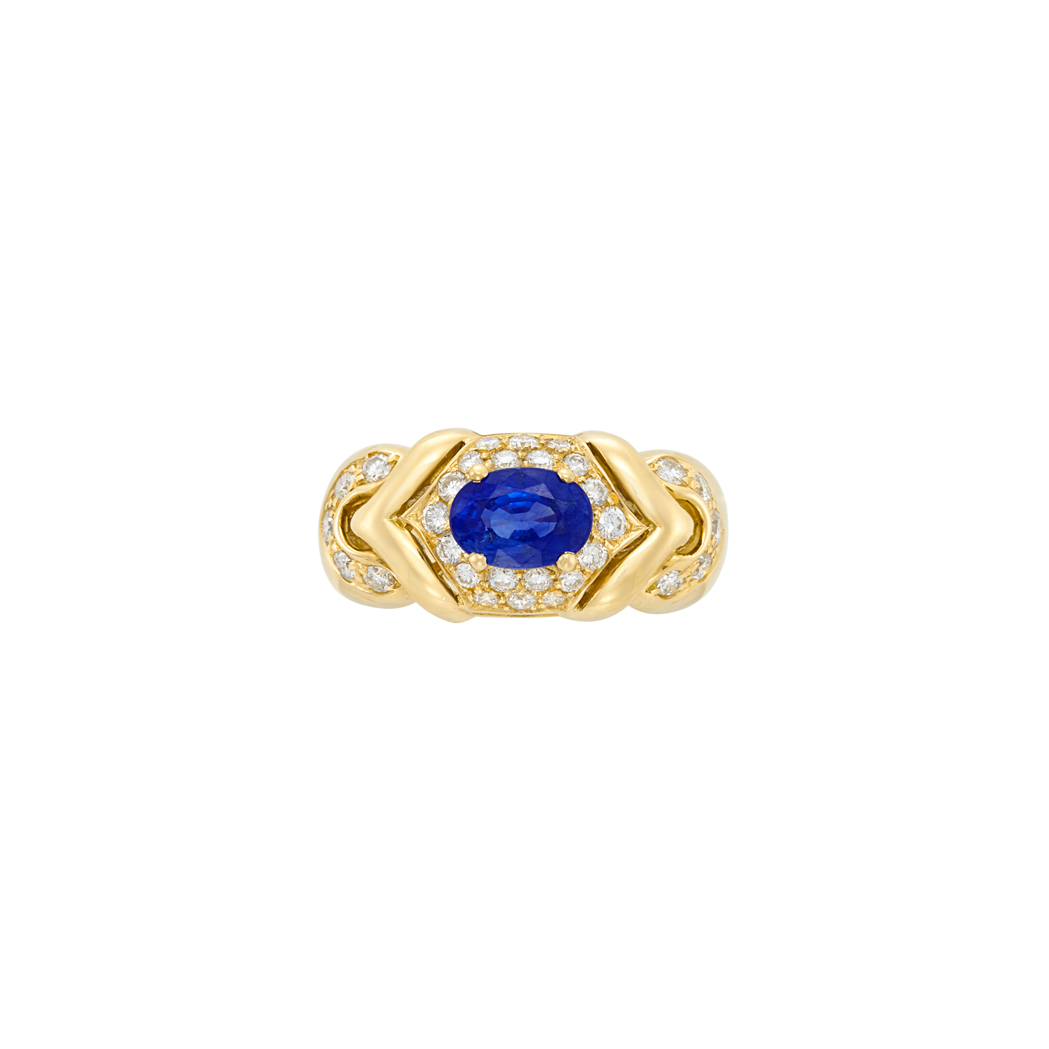 Lot image - Gold, Sapphire and Diamond Ring, Bulgari