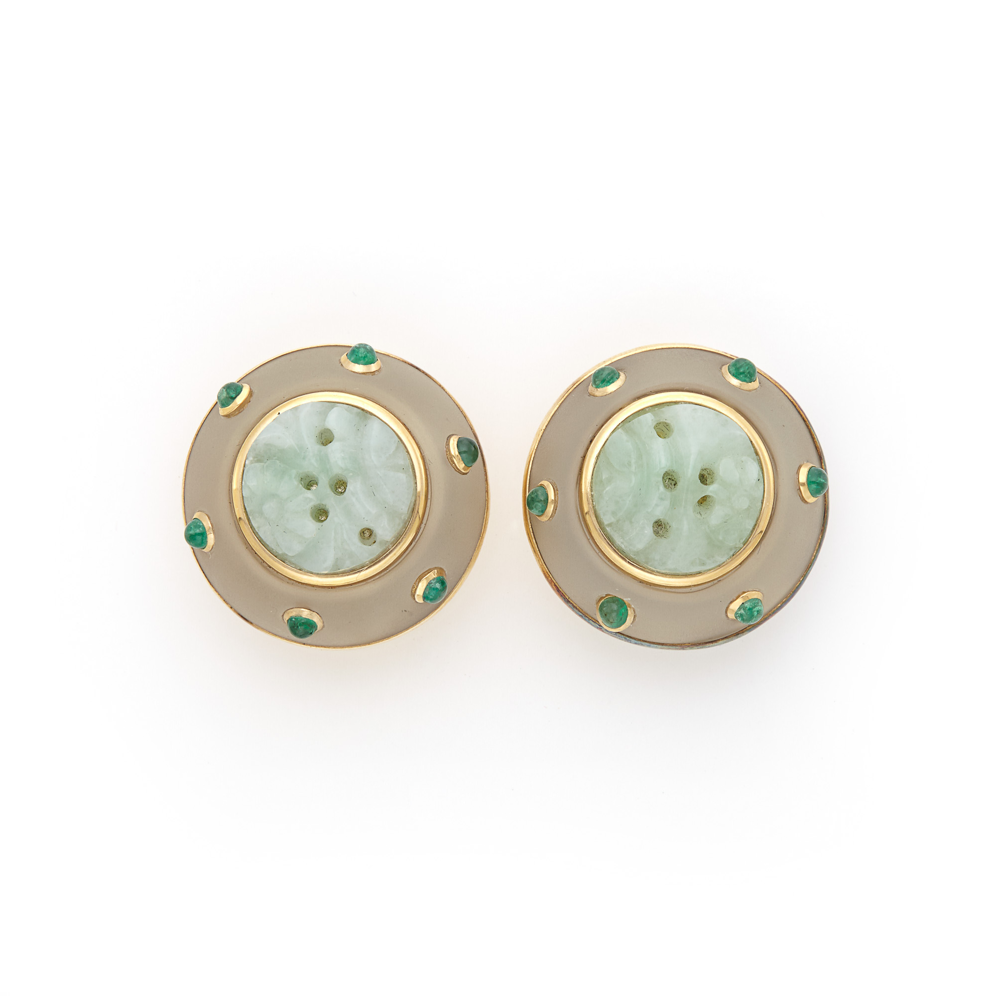 Lot image - Pair of Gold, Frosted Rock Crystal, Carved Jade, and Cabochon Emerald Earclips