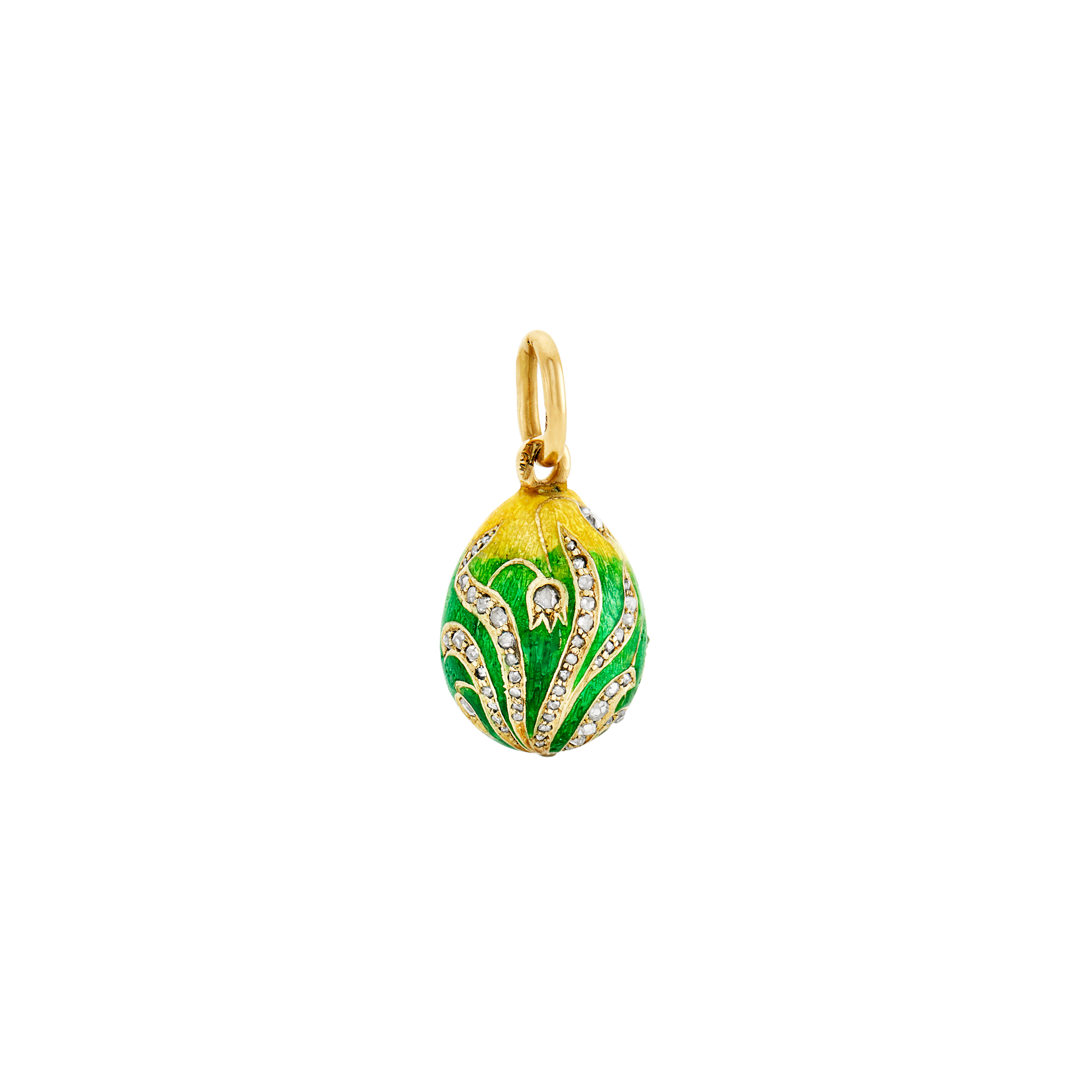 Lot image - Fabergé Jeweled Gold and Guilloché Enamel Pendant Egg