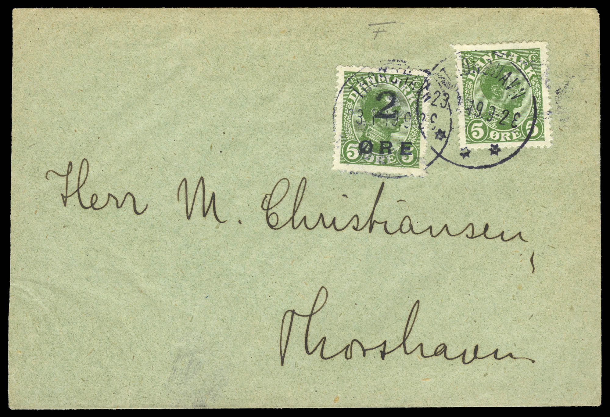 Lot image - Faroe Island First Issue on Cover Scott 1