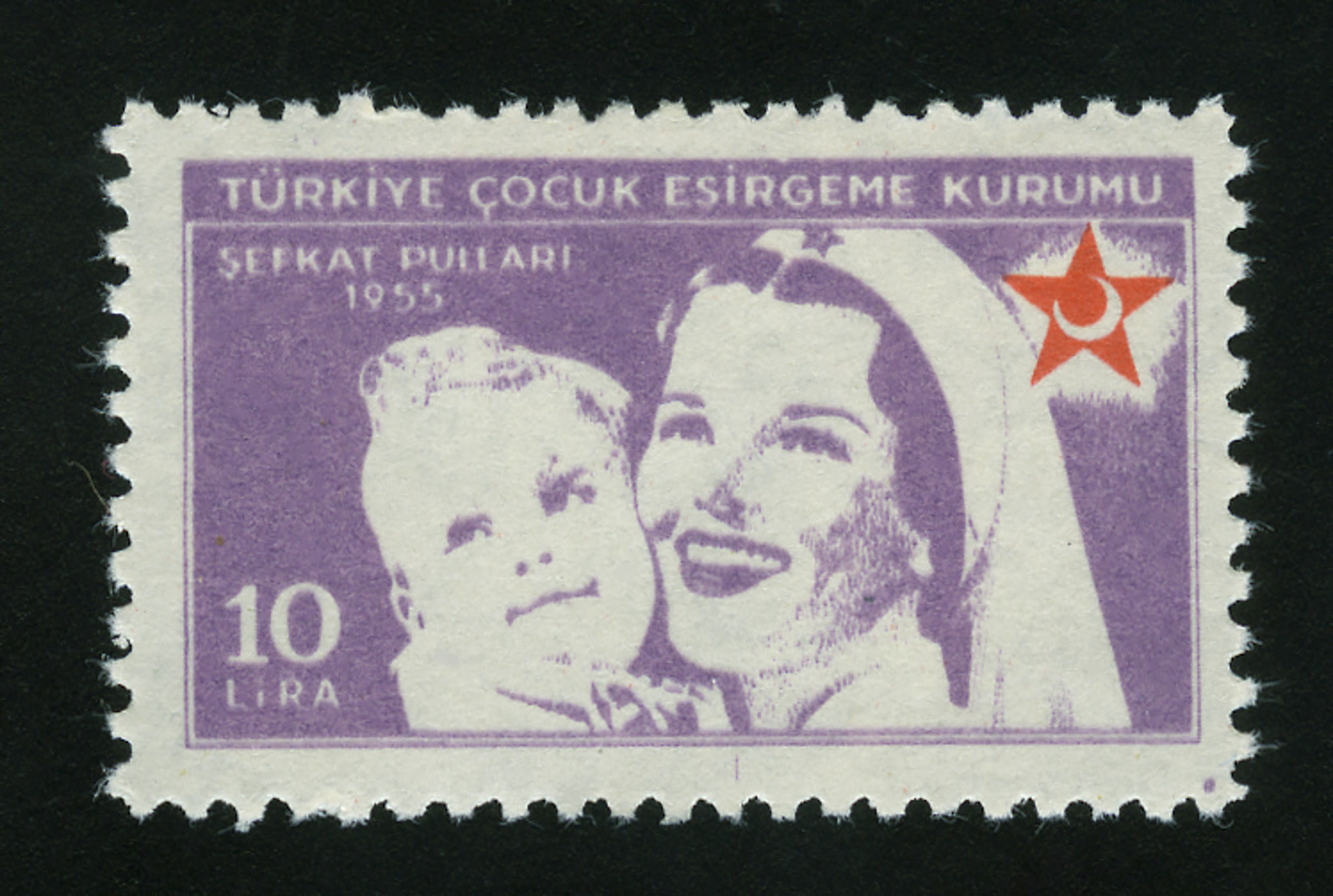 Lot image - Turkey Postal Tax Stamp 1955 10 Lira Scott 180