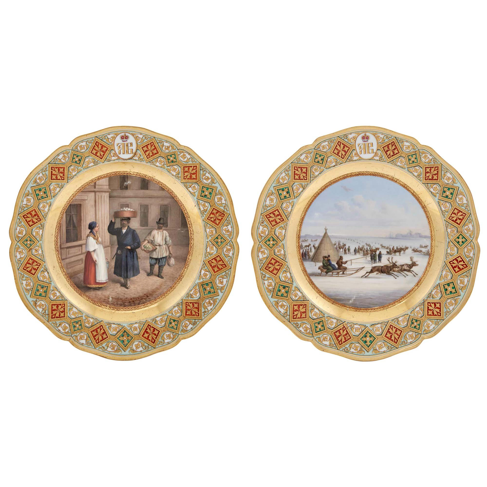 Lot image - Two Berlin (K.P.M.) Porcelain Plates with Russian Scenes