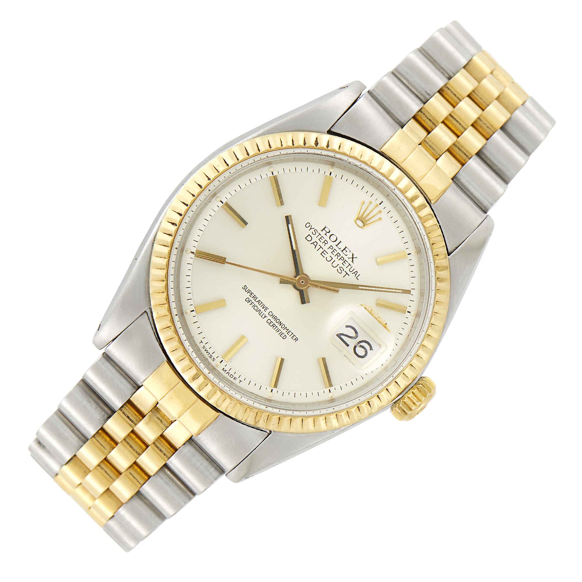Lot image - Rolex Gentlemans Stainless Steel and Gold Oyster Perpetual Datejust Wristwatch, Ref. 1601