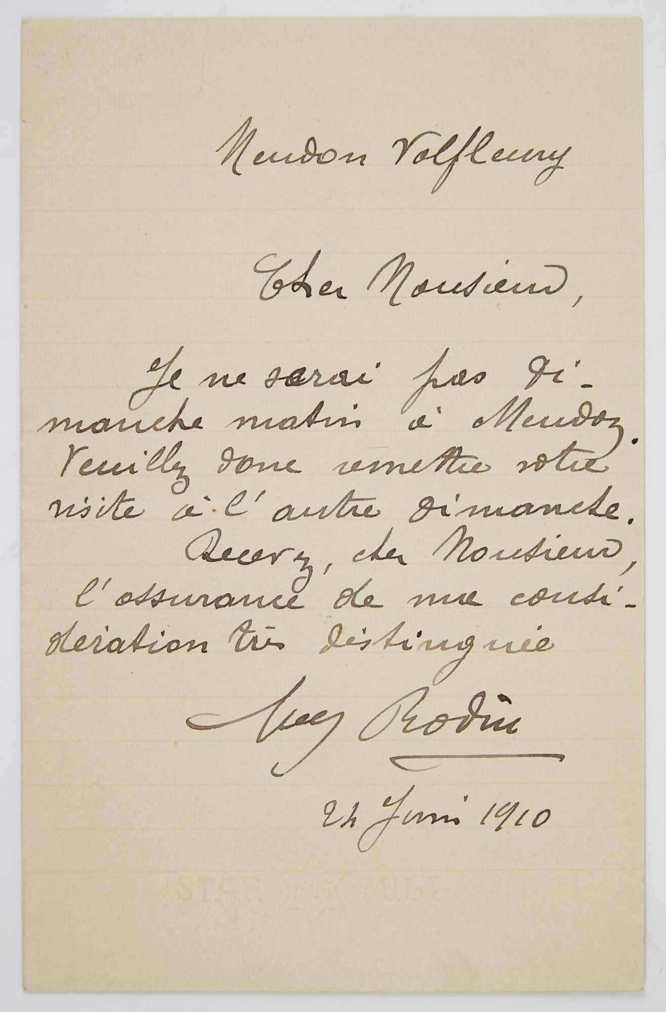 Lot image - RODIN, AUGUSTE  Autograph note signed
