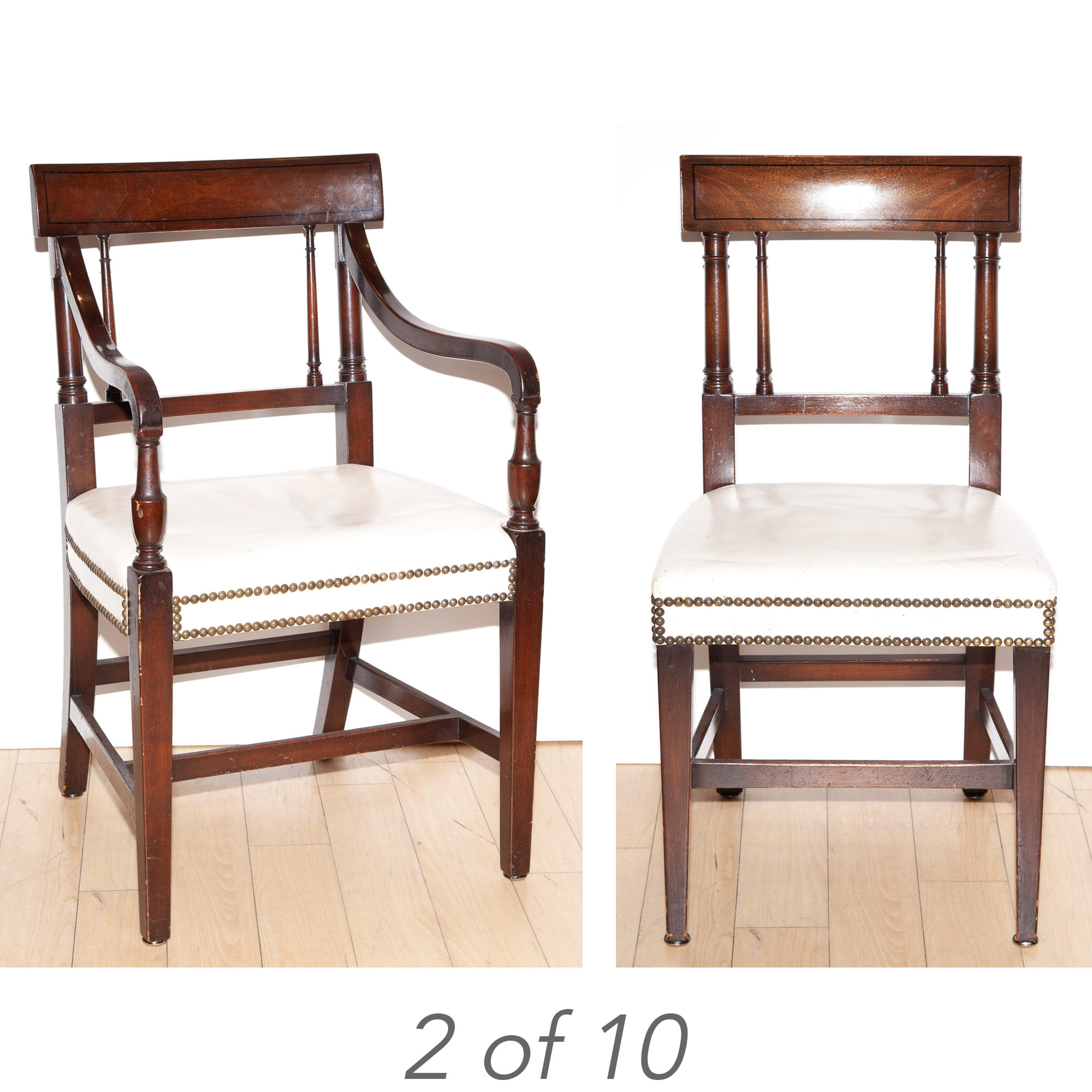 Lot image - Set of Ten Regency Style Mahogany Dining Chairs