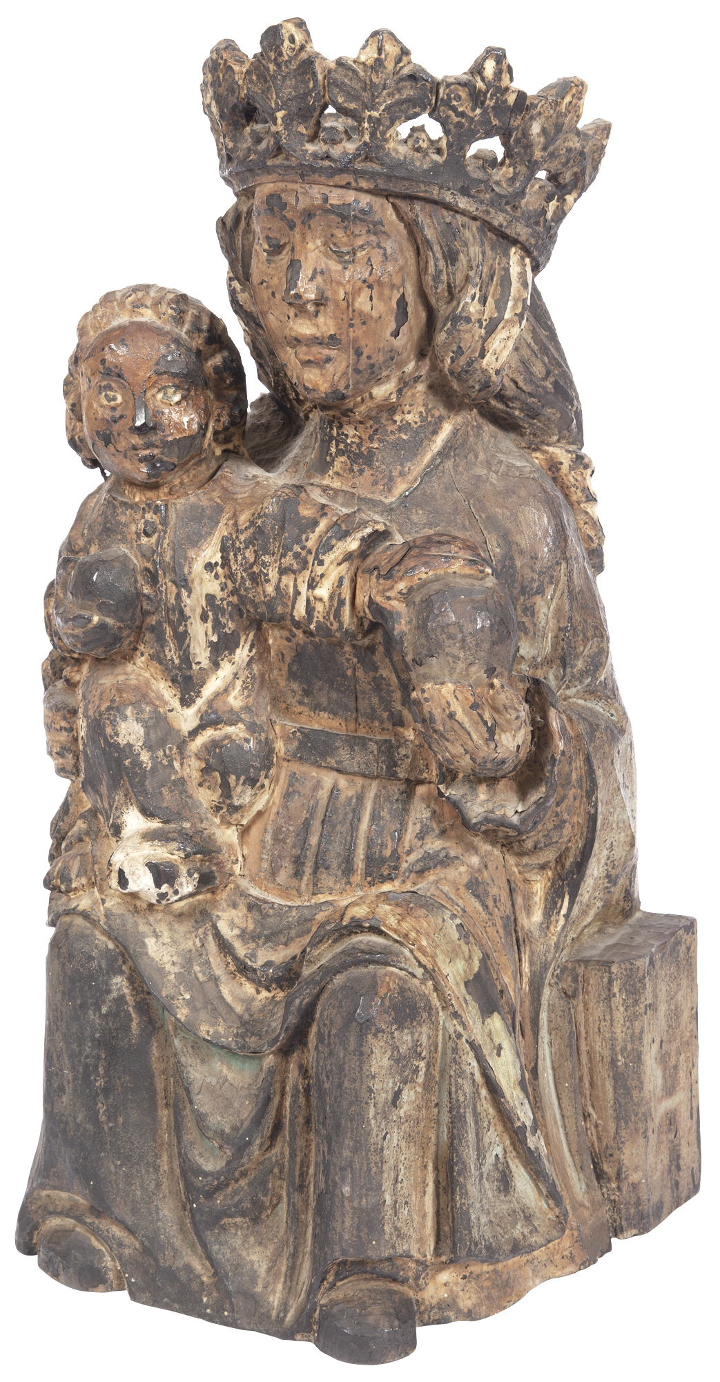 Lot image - Continental Carved Wood Group of the Virgin and Child