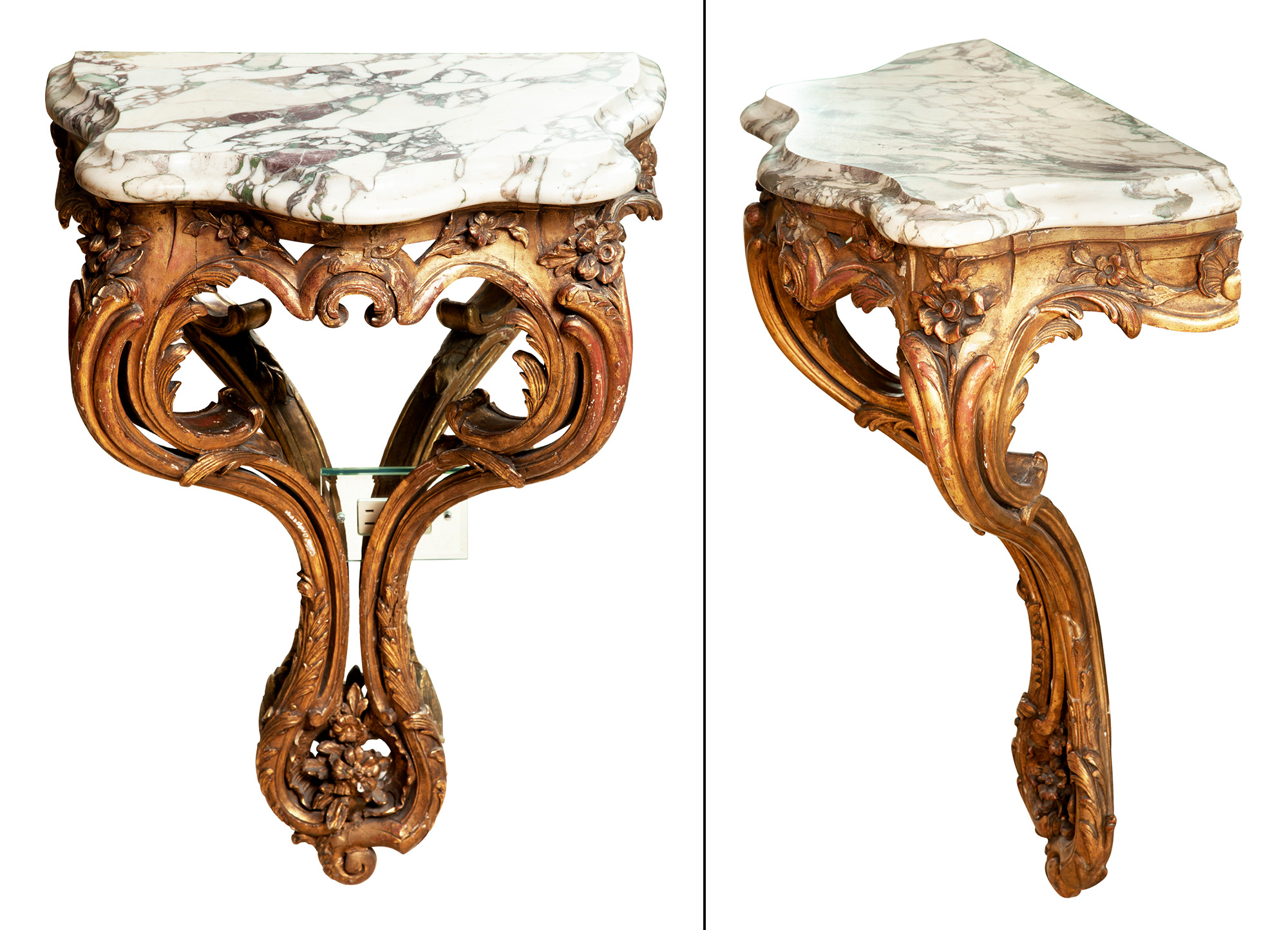 Lot image - Pair of Louis XV Style Giltwood Marble Top Consoles