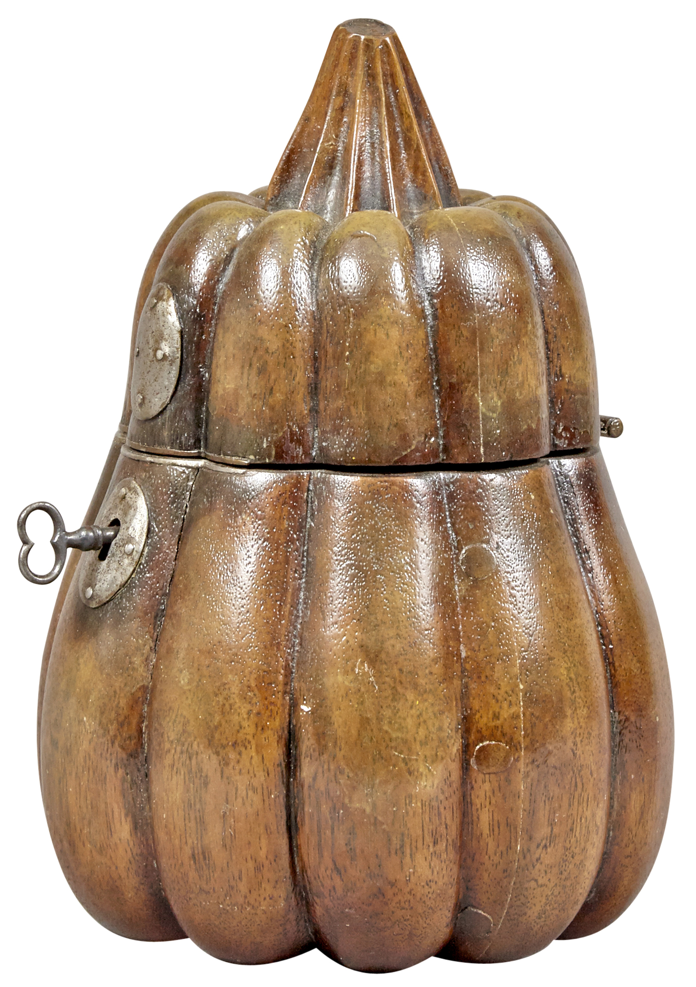 Lot image - George III Fruitwood Gourd Form Tea Caddy