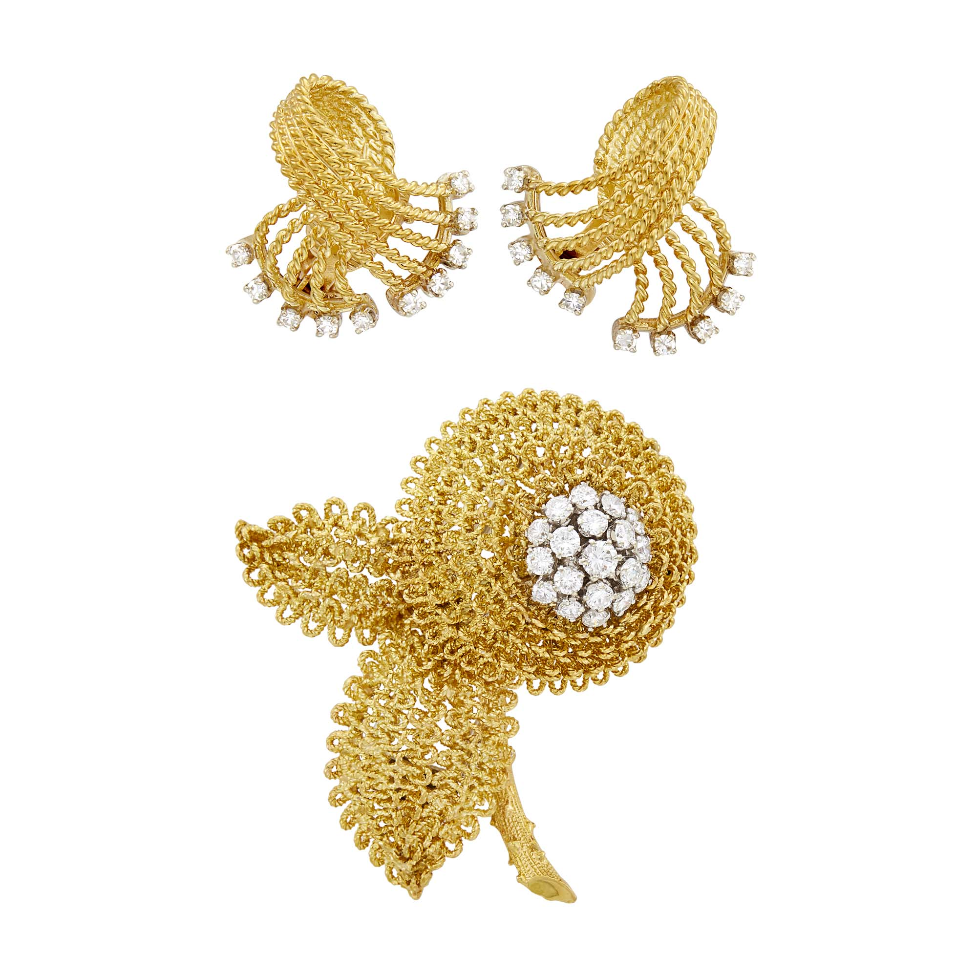 Lot image - Pair of Gold and Diamond Spray Earclips and Fred Gold and Diamond Flower Clip-Brooch