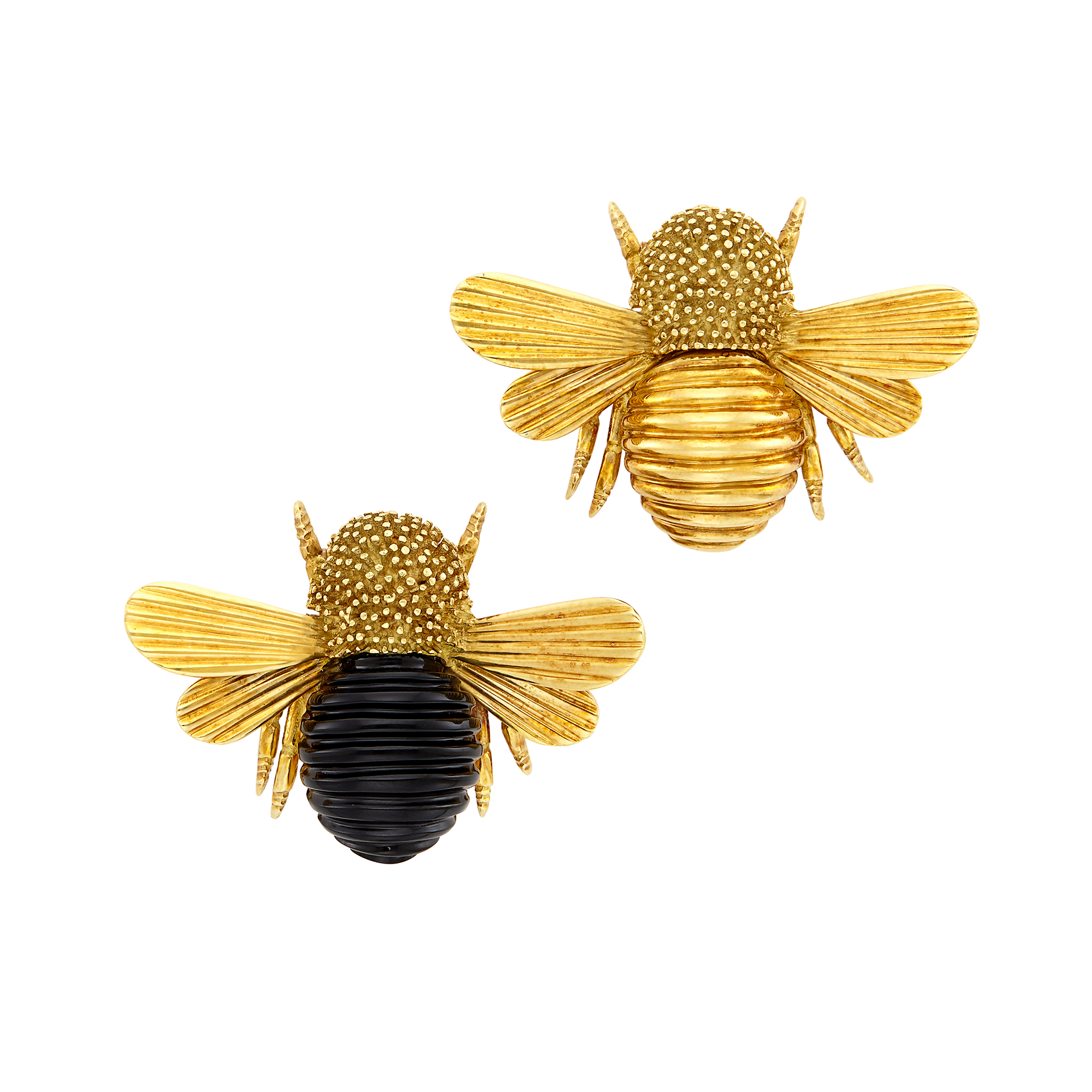 Lot image - Pair of Gold and Carved Black Onyx Bee Clip-Brooches, Trio