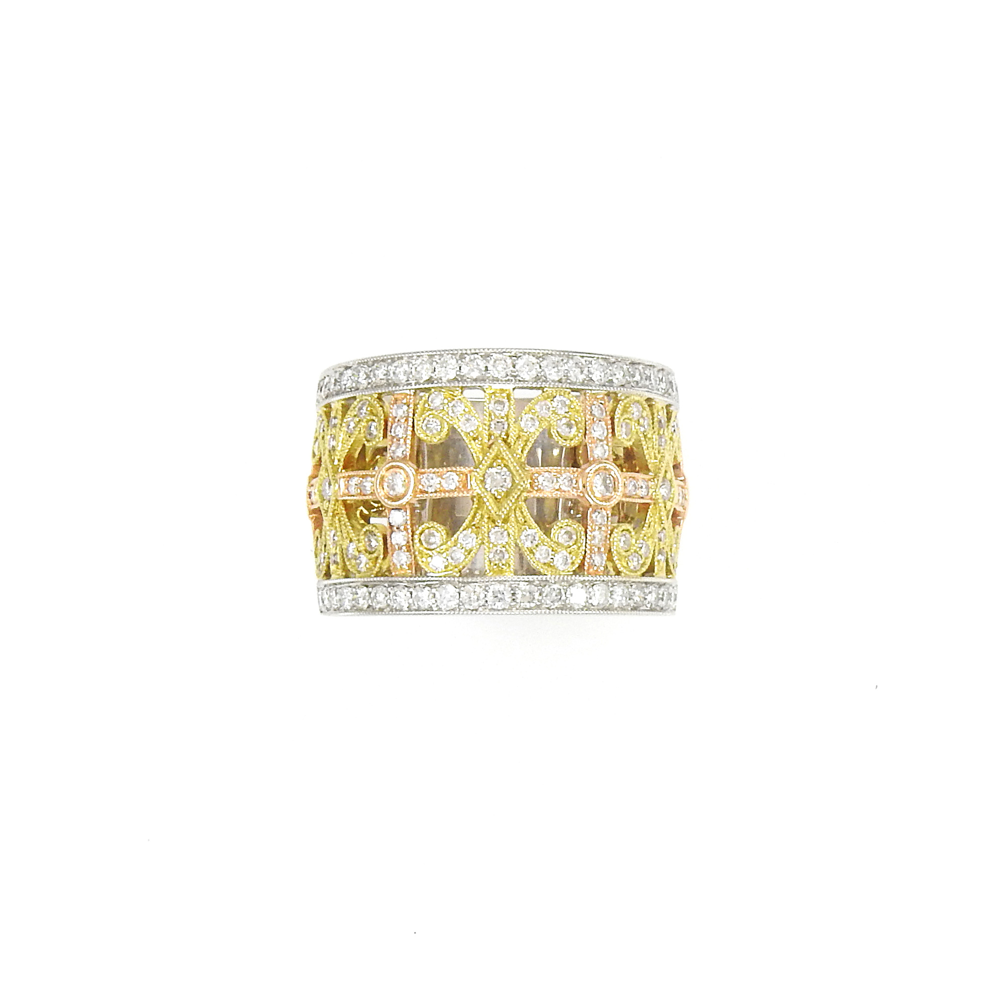 Lot image - Tricolor Gold and Diamond Ring
