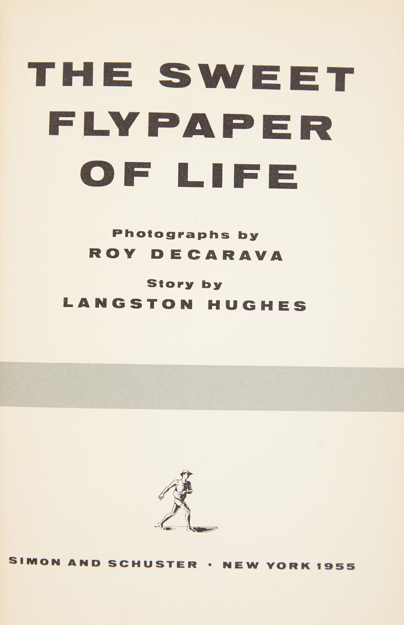 Lot image - [PHOTOBOOK]  DeCARAVA, ROY & HUGHES, LANGSTON. The Sweet Flypaper Of Life.