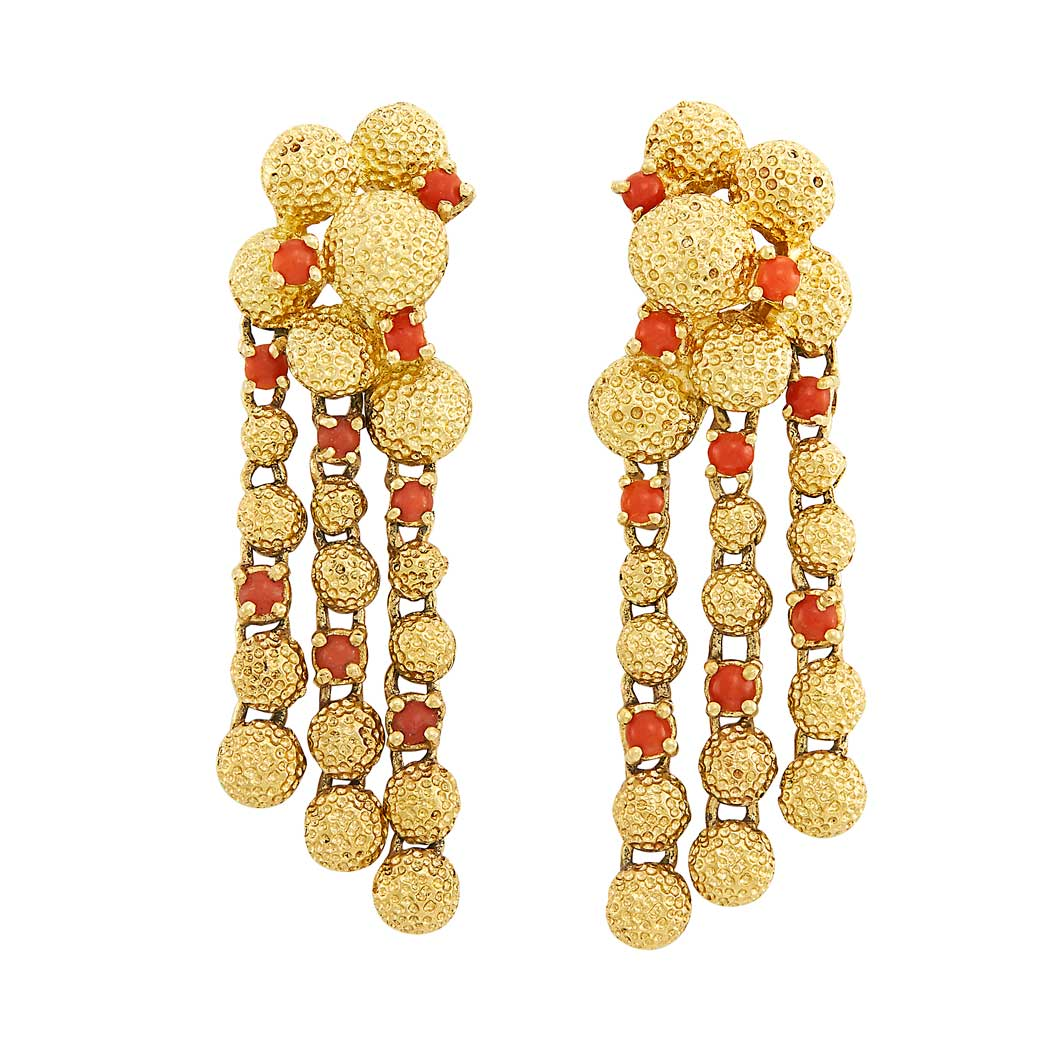 Lot image - Pair of Gold and Coral Pendant-Earrings, Cartier