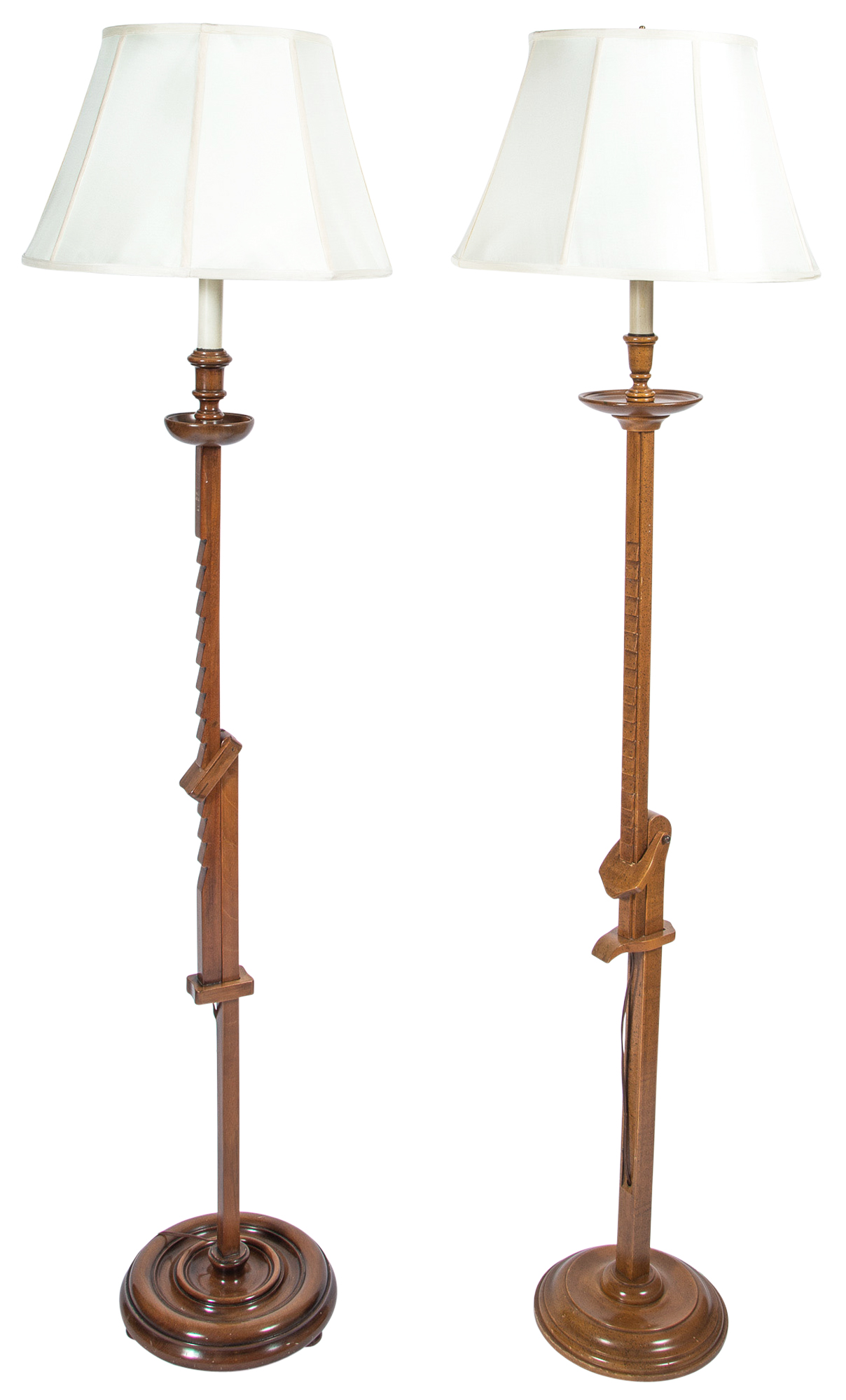 Lot image - Two Mixed Wood Ratchet Floor Lamps