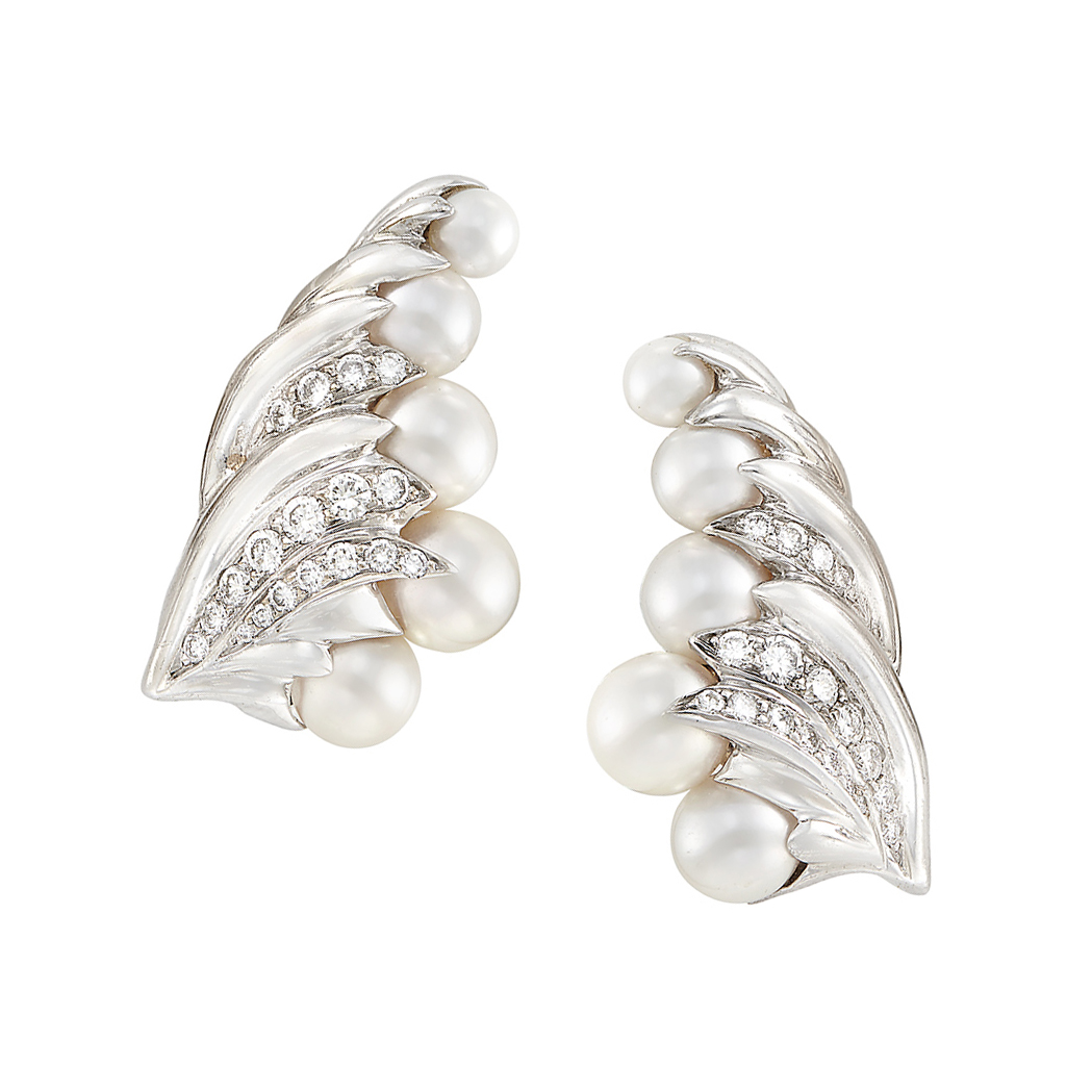 Lot image - Pair of White Gold, Cultured Pearl and Diamond Earclips, Seaman Schepps
