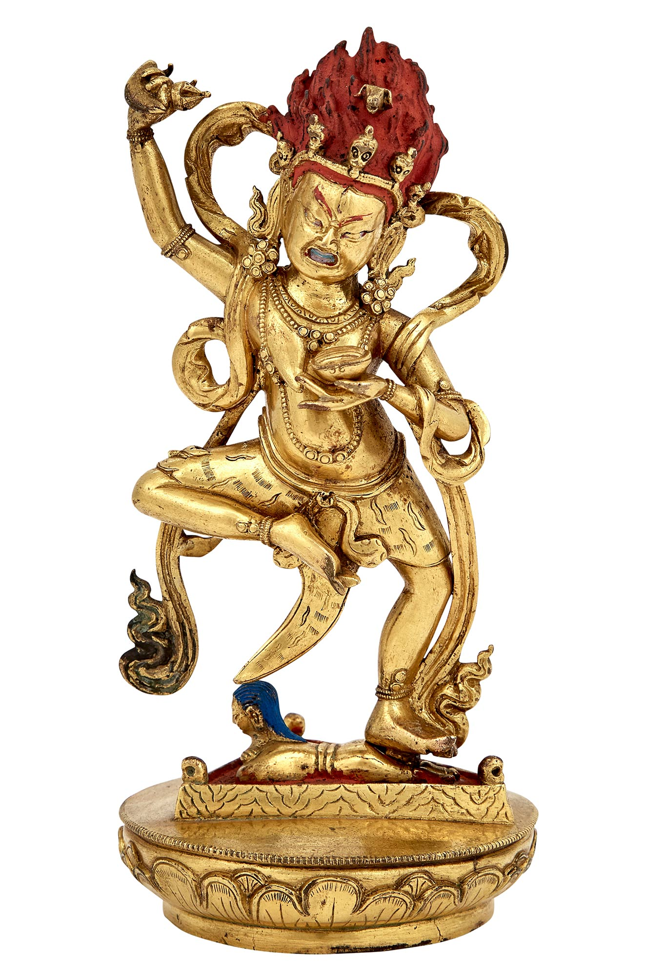 Lot image - Tibetan Gilt-Bronze Figure of Mahakala