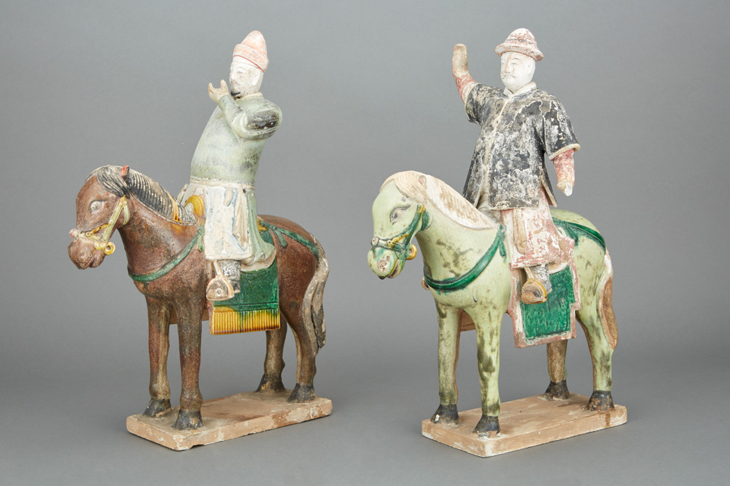 Lot image - Pair of Chinese Painted Pottery Figures of Horses and Riders