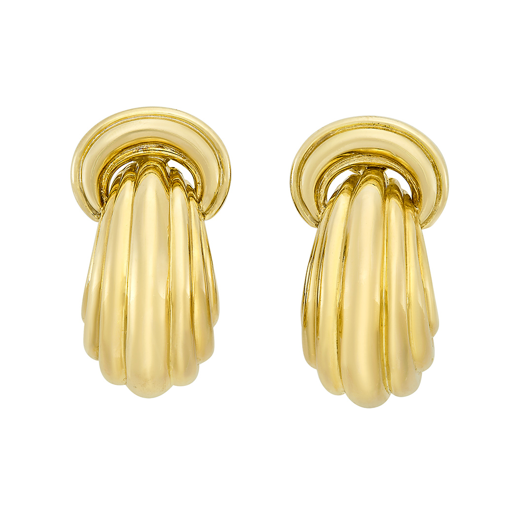 Lot image - Pair of Gold Doorknocker Hoop Earrings, David Webb