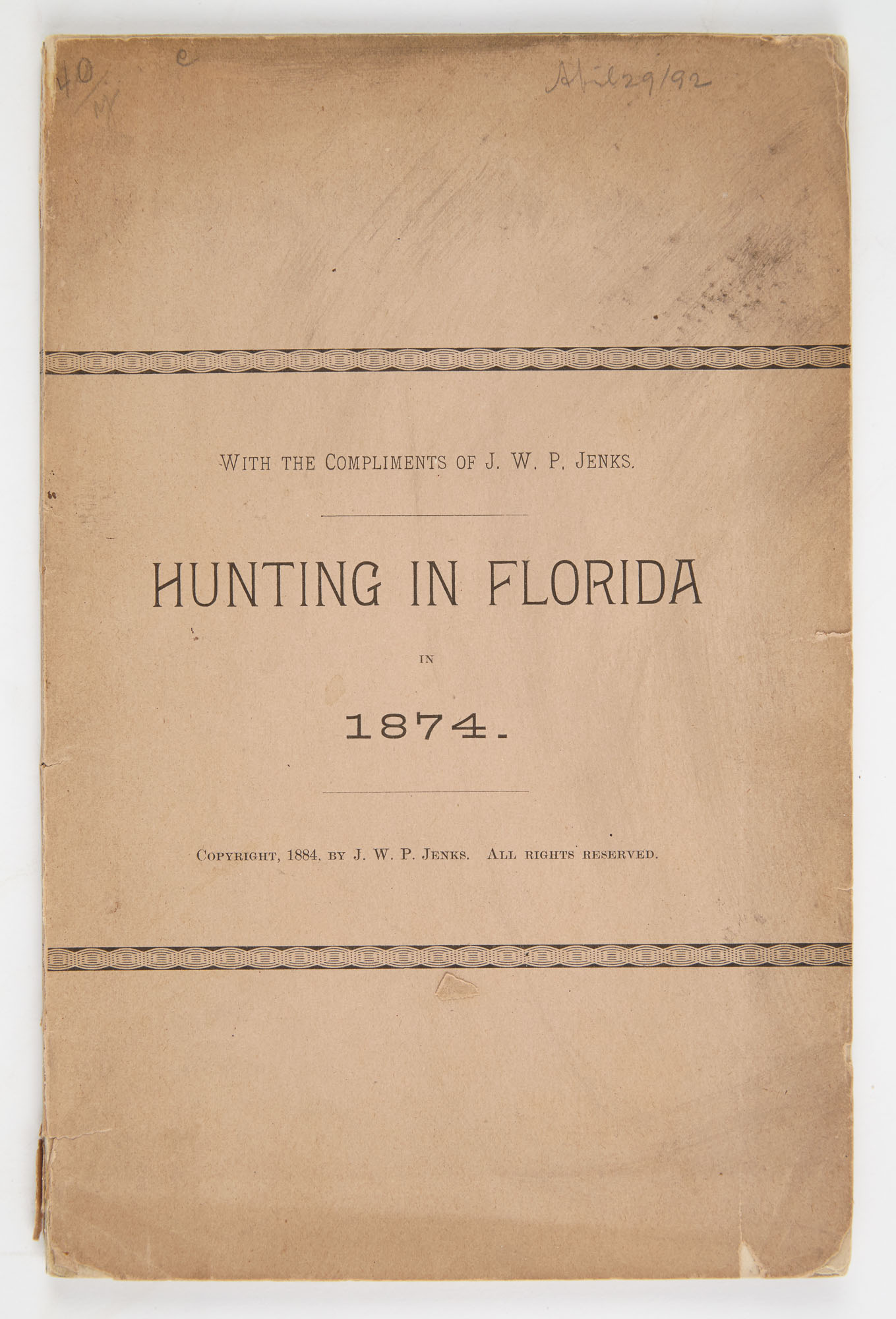 Lot image - [FLORIDA]  JENKS, JOHN WHIPPLE POTTER. Hunting in Florida in 1847.