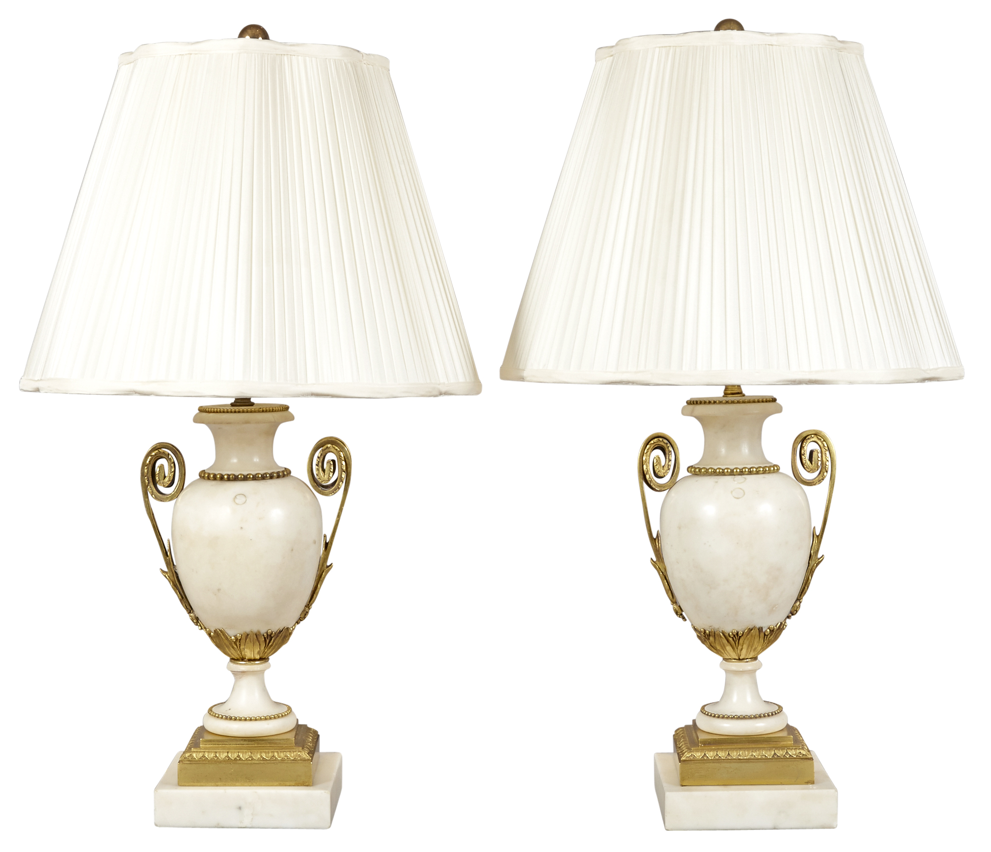Lot image - Pair of Louis XVI Style Gilt Bronze Mounted Marble Lamps
