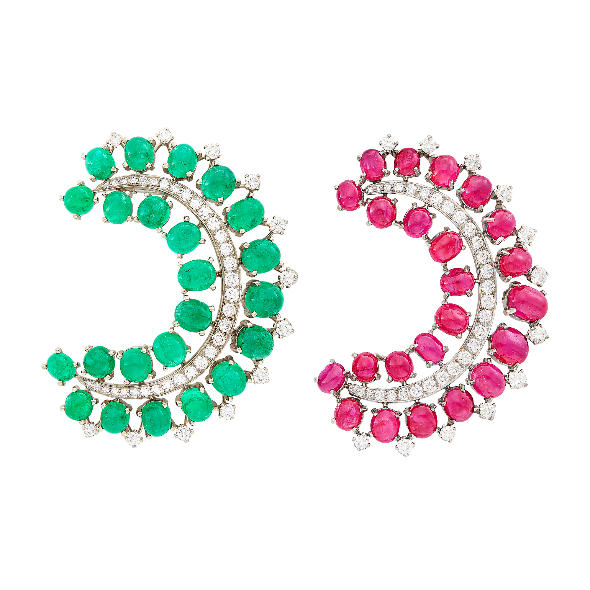 Lot image - Pair of Platinum, Low Karat Gold, Cabochon Ruby and Emerald and Diamond Clips